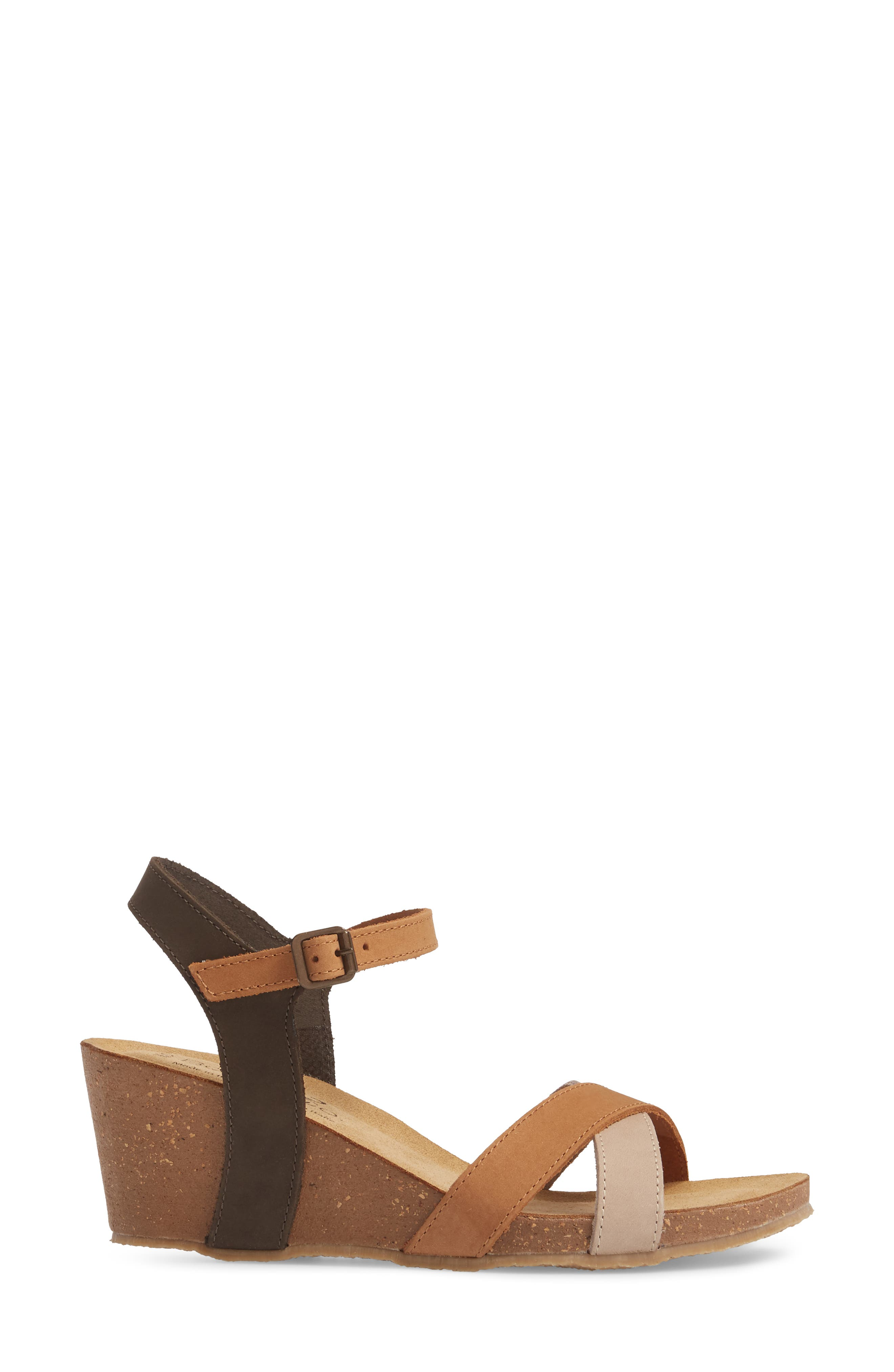 Lucca Wedge Sandal,                             Alternate thumbnail 3, color,                             Multi Cognac Nubuck Leather