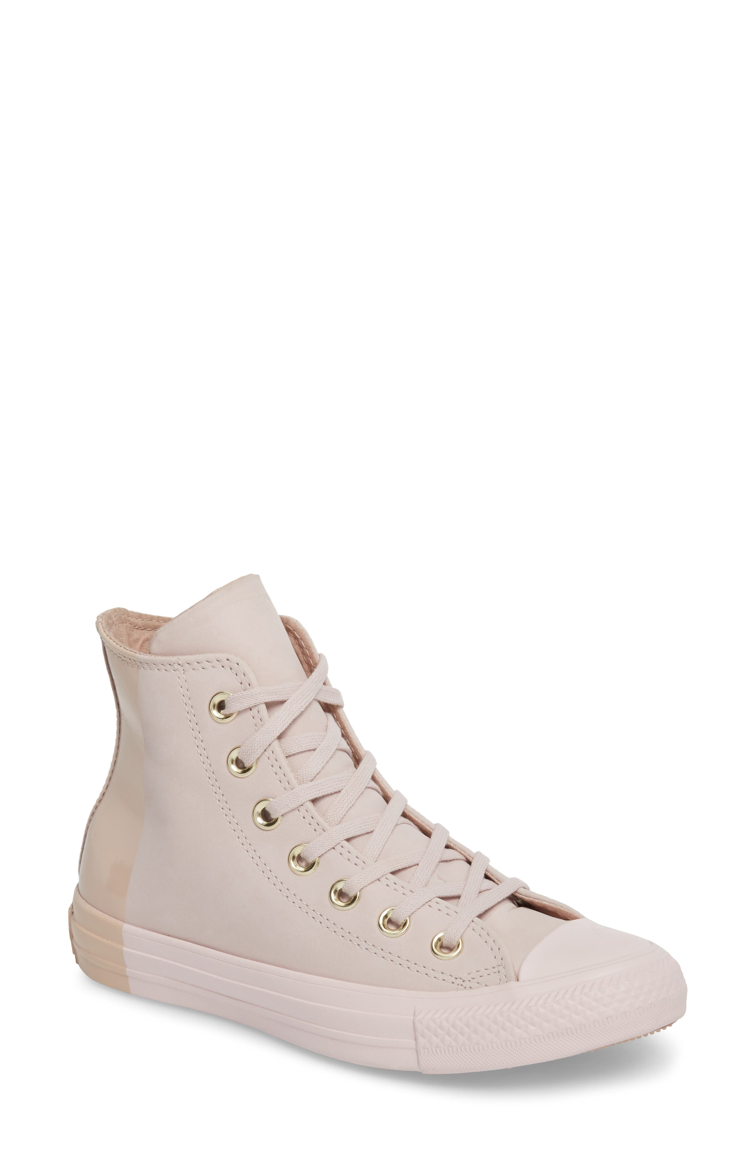 Chuck Taylor<sup>®</sup> All Star<sup>®</sup> Blocked High Top Sneaker,                         Main,                         color, Barely Rose