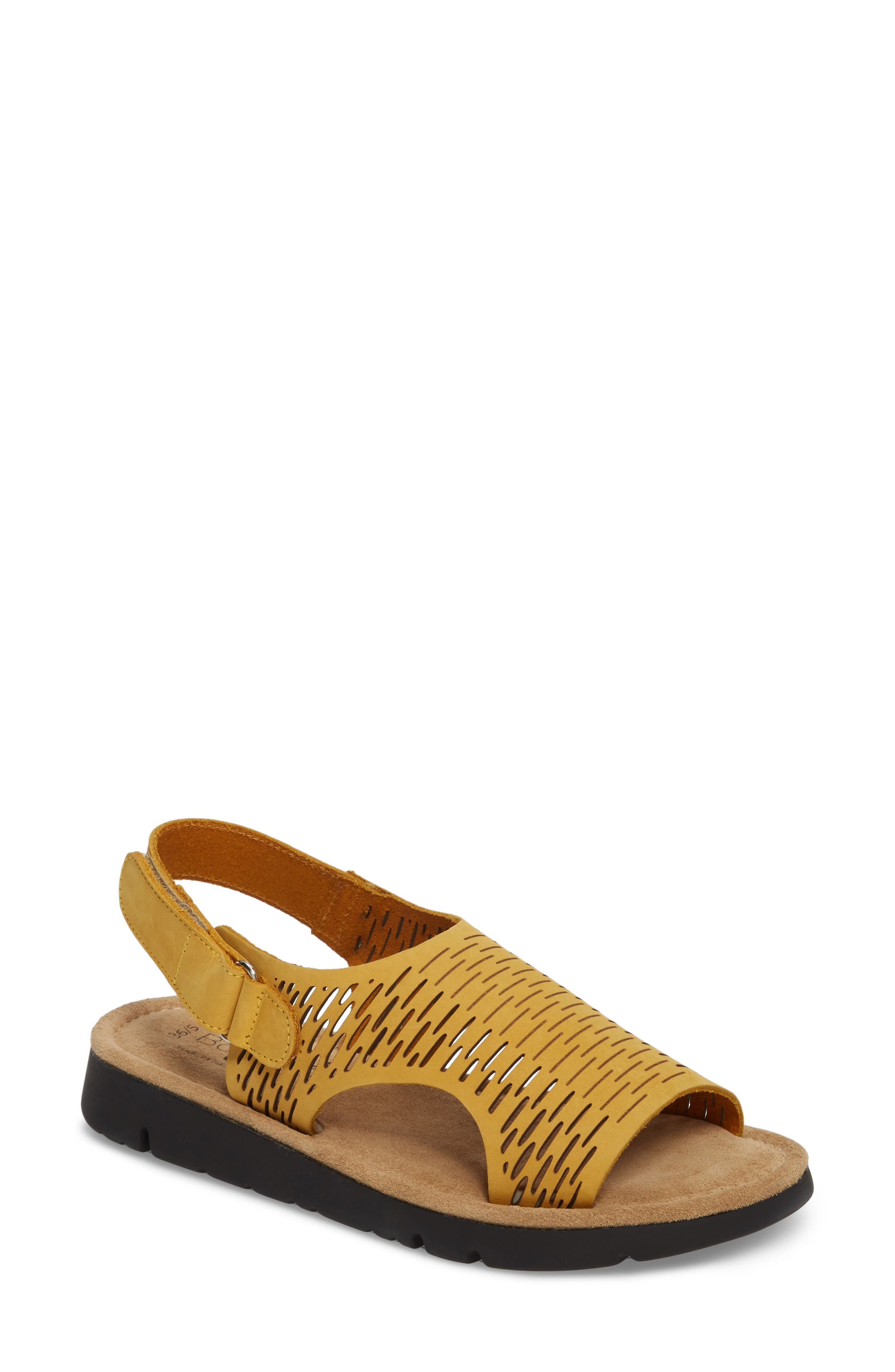 Saga Sandal,                             Main thumbnail 1, color,                             Mustard Nubuck Leather
