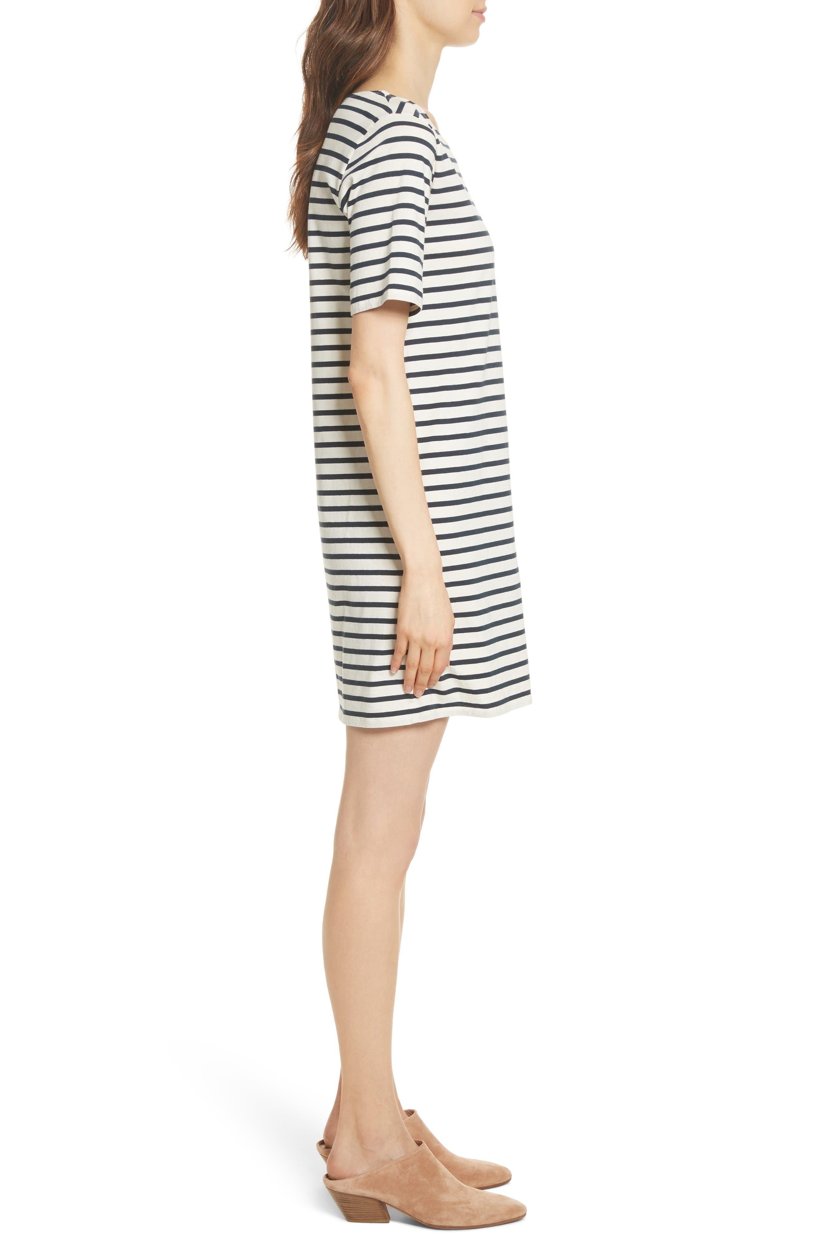 The Tee Stripe Dress,                             Alternate thumbnail 3, color,                             Cream/ Navy
