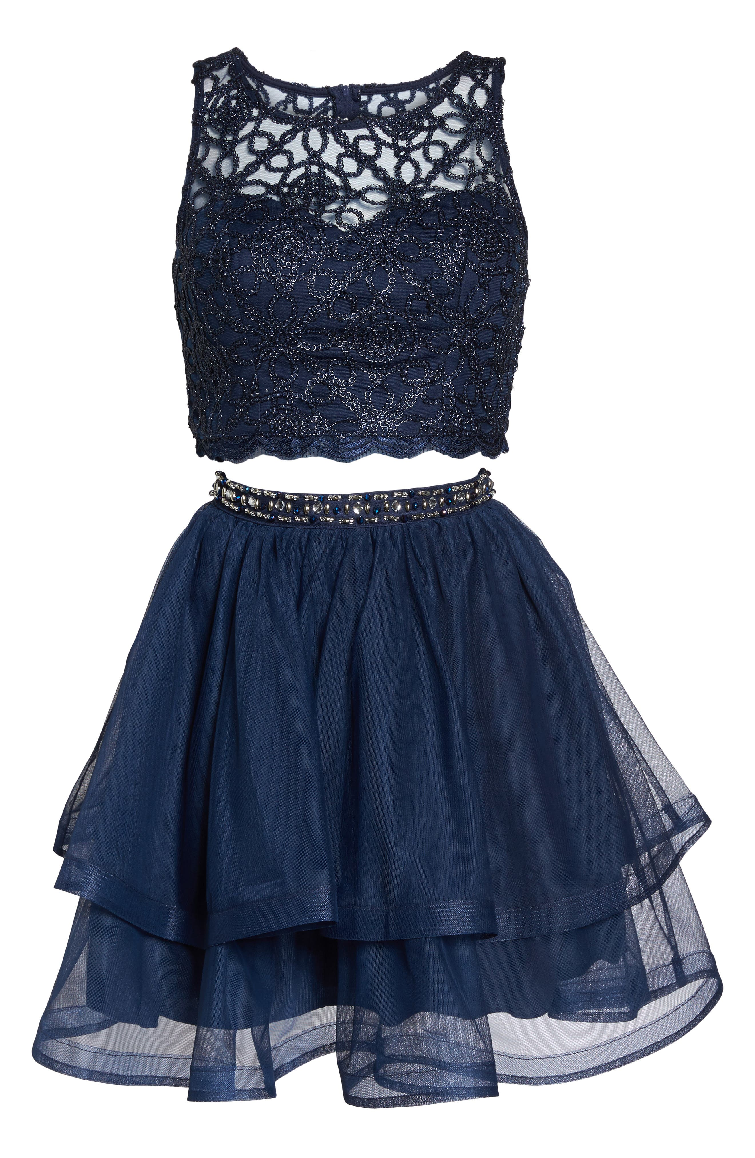 Chain Lace Mesh Two-Piece Dress,                             Alternate thumbnail 6, color,                             Navy