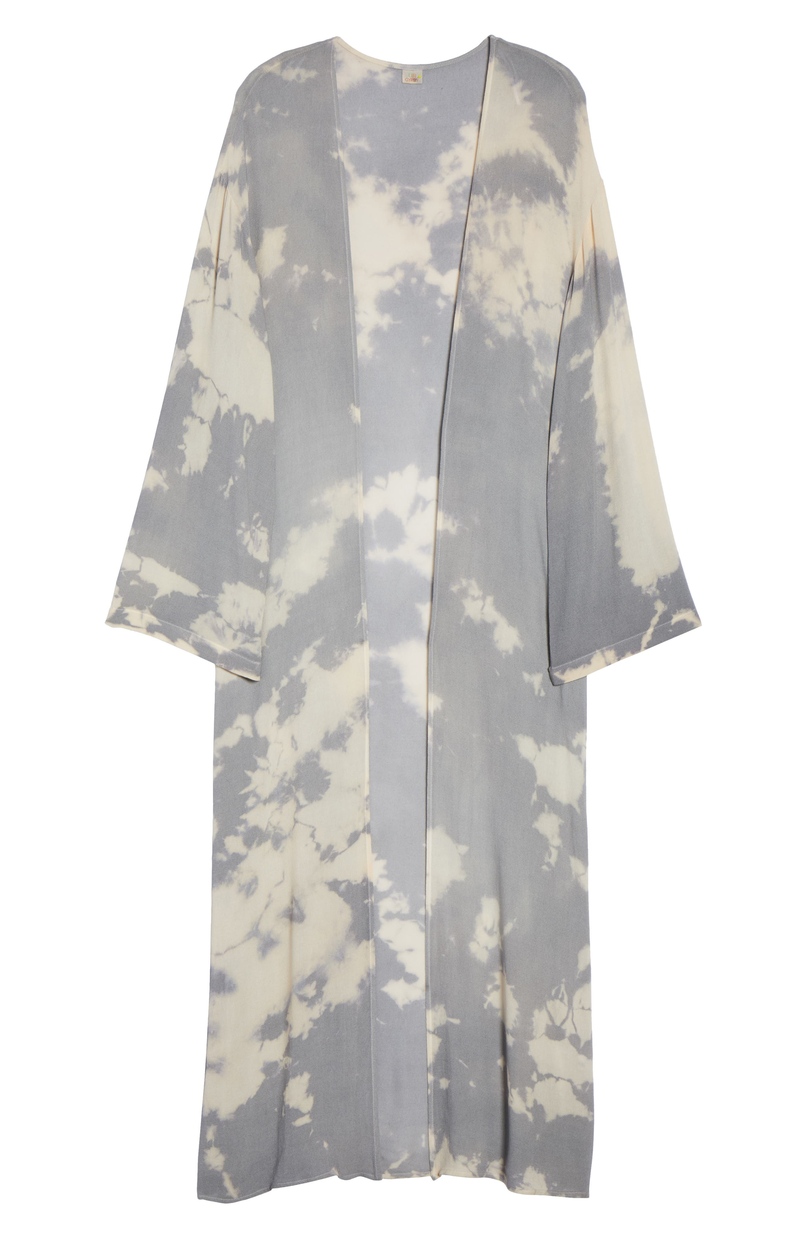 Duster Cover-Up,                             Alternate thumbnail 6, color,                             Grey/ Cream