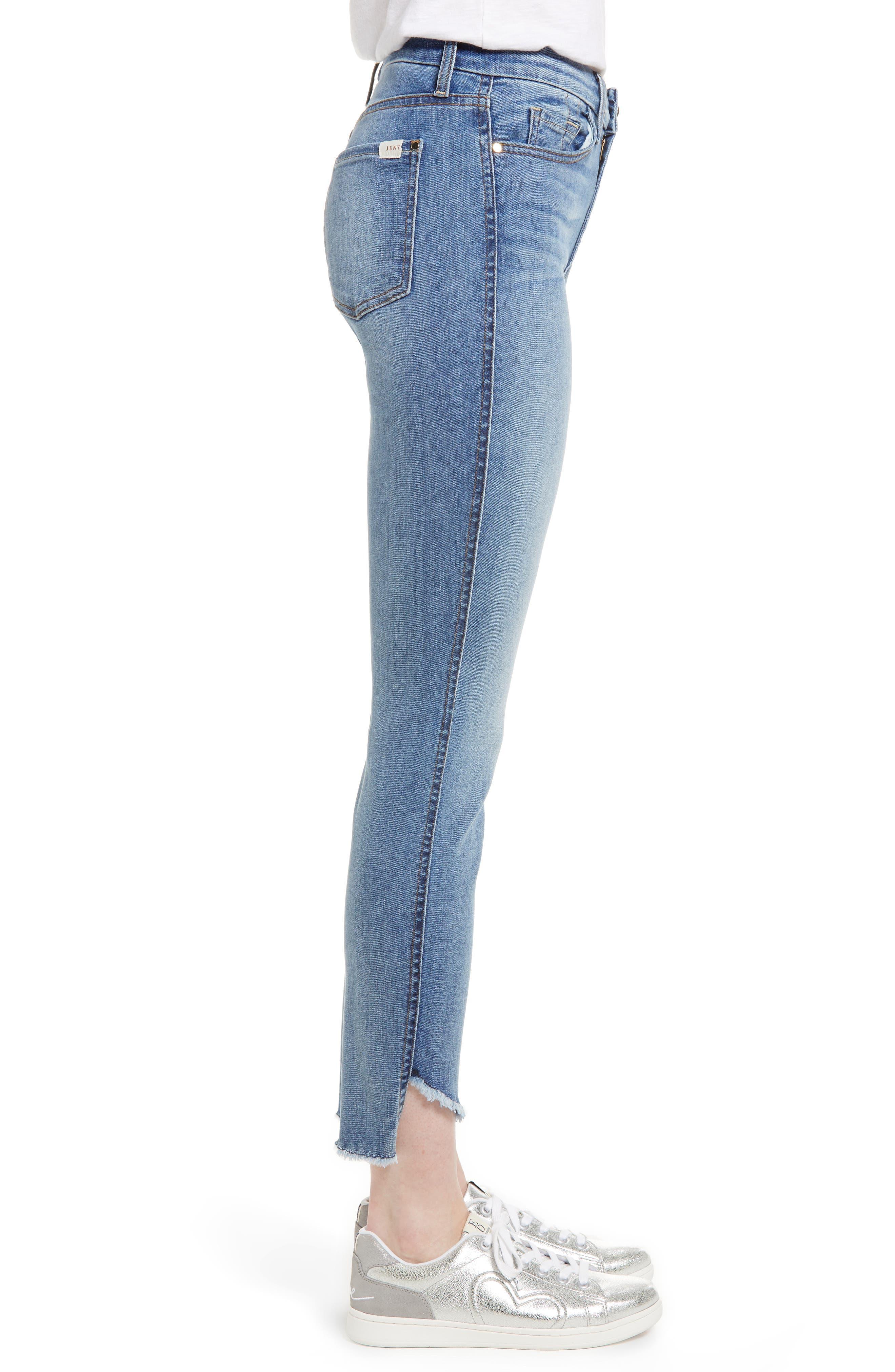 Raw Hem Skinny Jeans,                             Alternate thumbnail 3, color,                             Sunlight