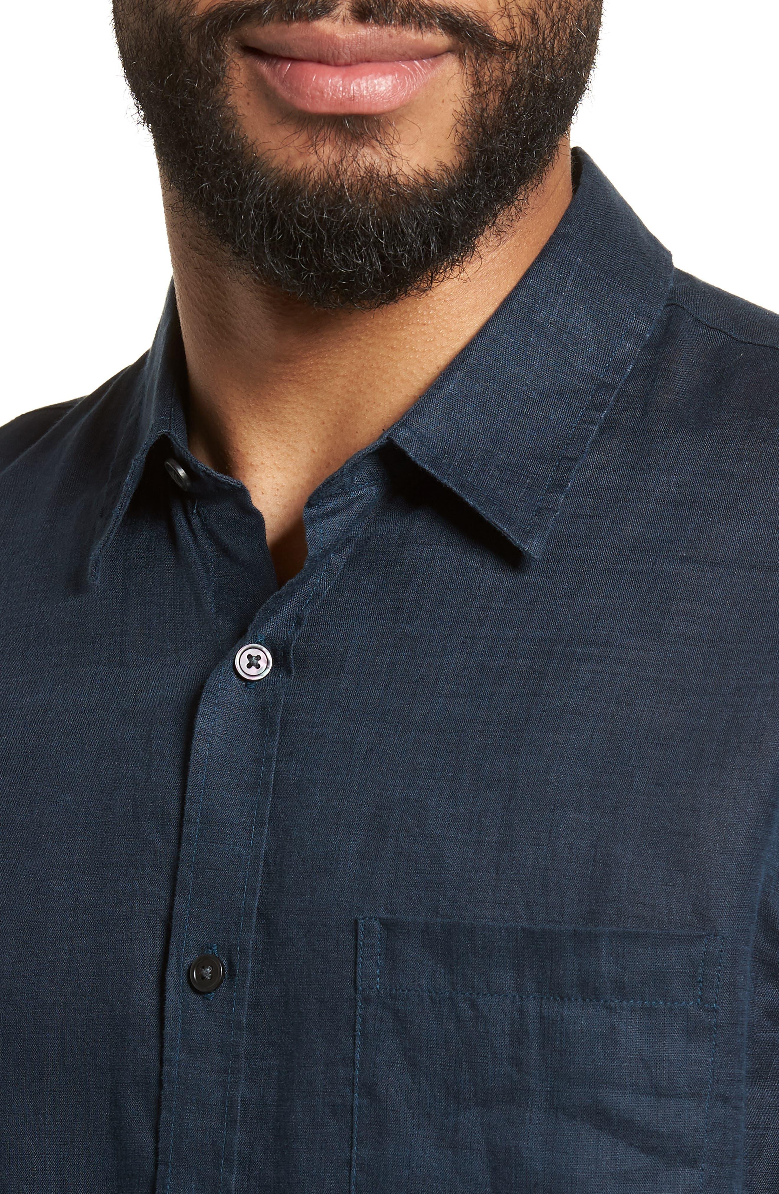 Washed Slim Fit Linen Sport Shirt,                             Alternate thumbnail 4, color,                             Mechanic Blue