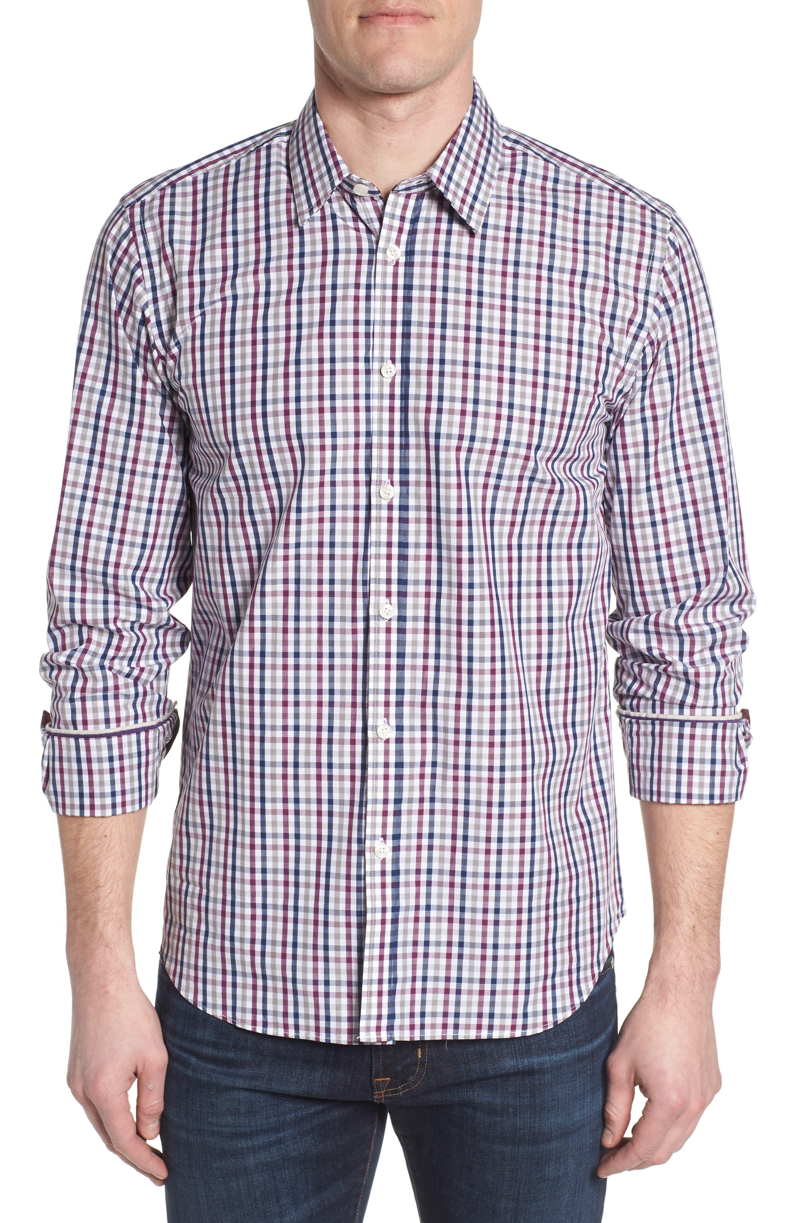 Slim Fit Check Sport Shirt,                             Main thumbnail 1, color,                             Dark Red