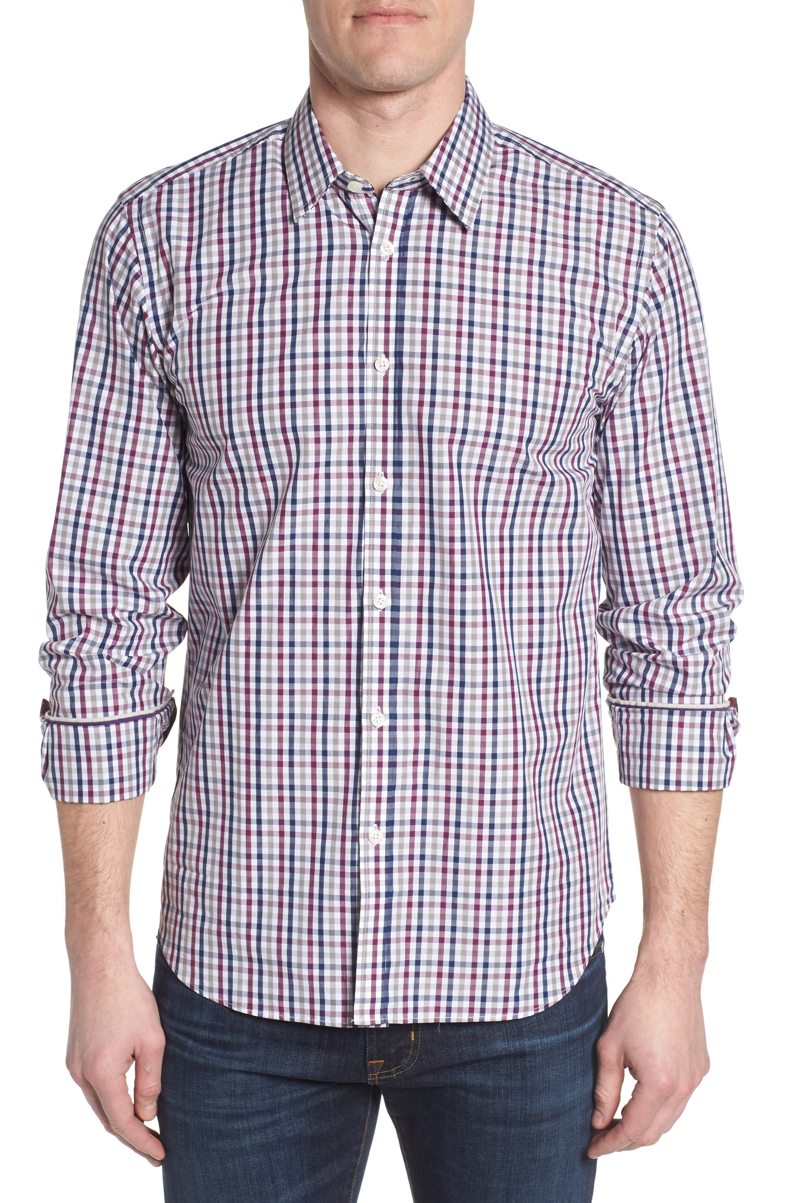 Slim Fit Check Sport Shirt,                         Main,                         color, Dark Red