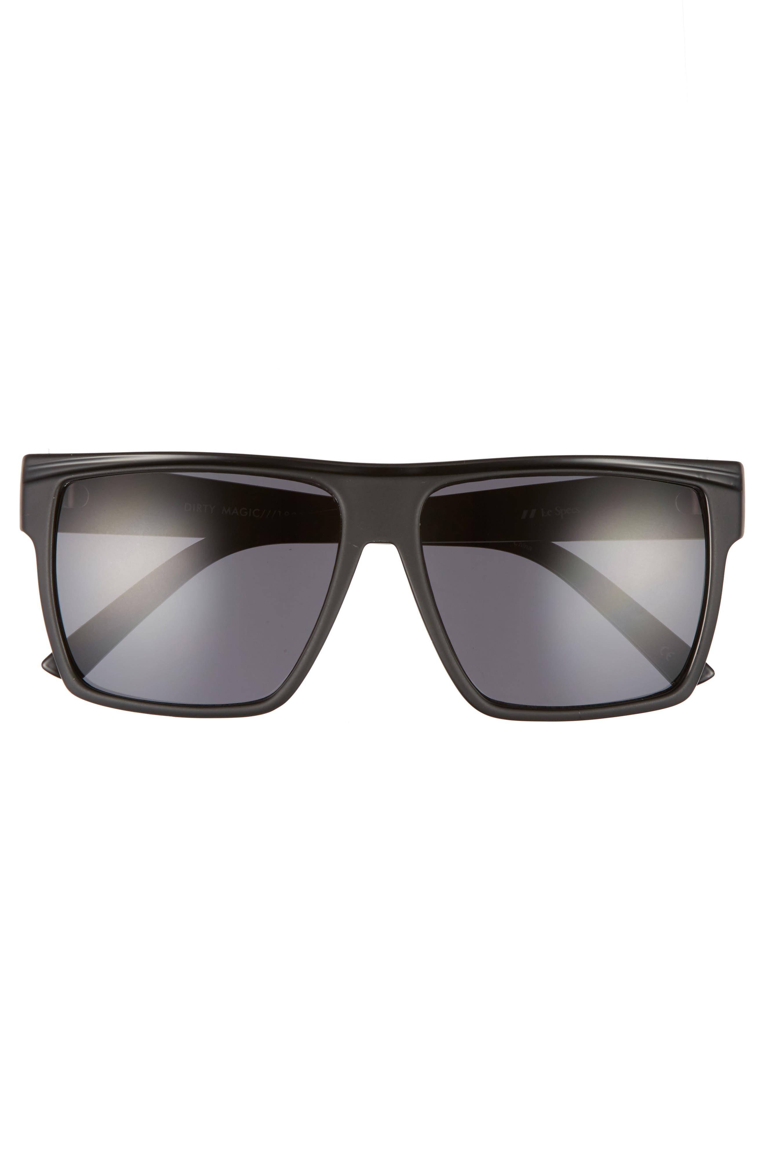 Dirty Magic 56mm Rectangle Sunglasses,                             Alternate thumbnail 3, color,                             Matte Black