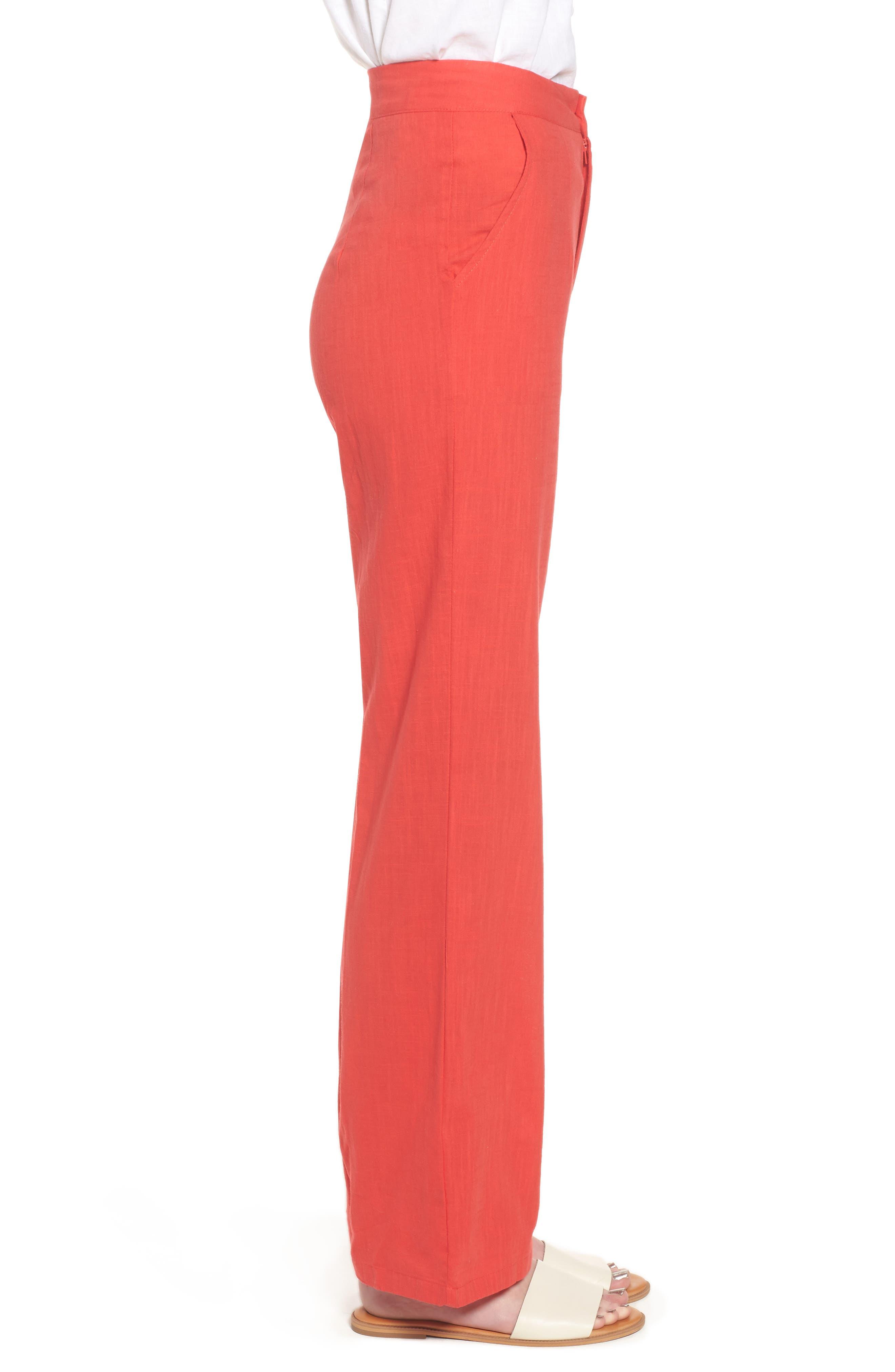 Femme Fatale High Waist Pants,                             Alternate thumbnail 3, color,                             Red