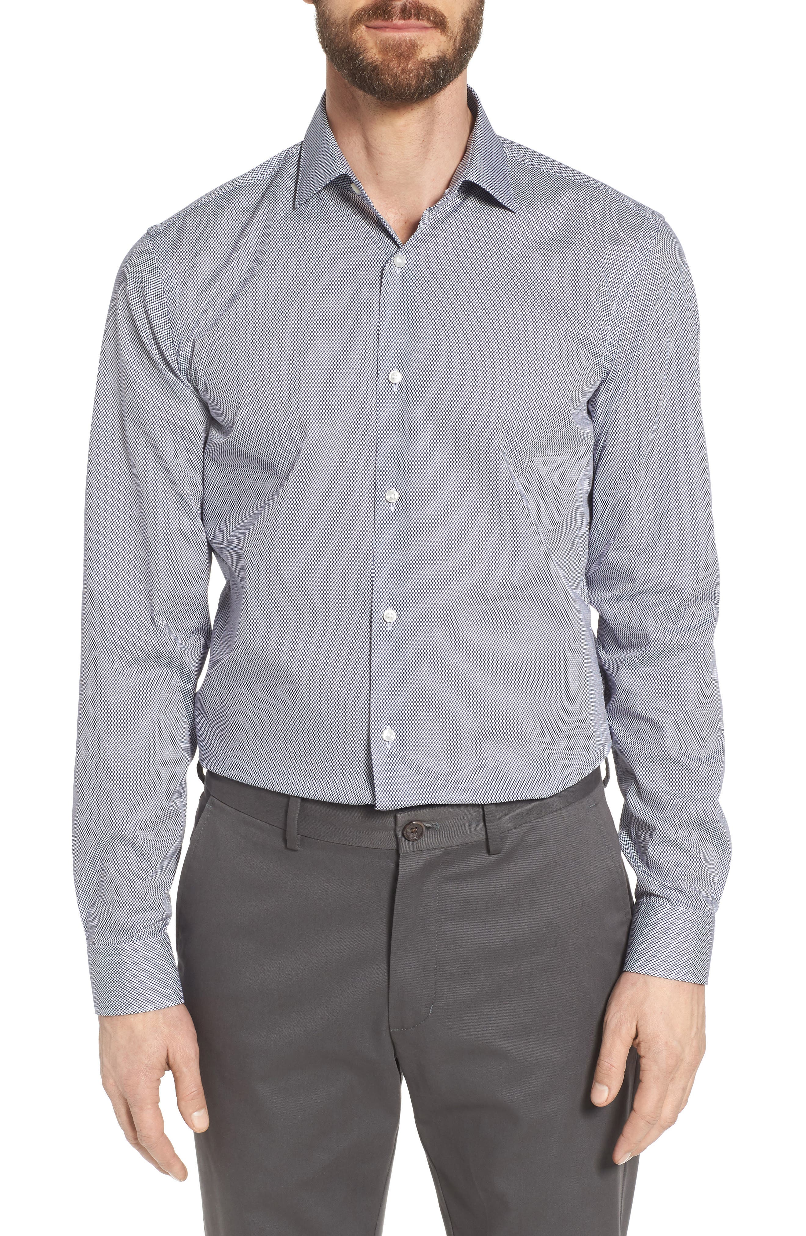 Ismo Slim Fit Dot Dress Shirt,                         Main,                         color, Navy