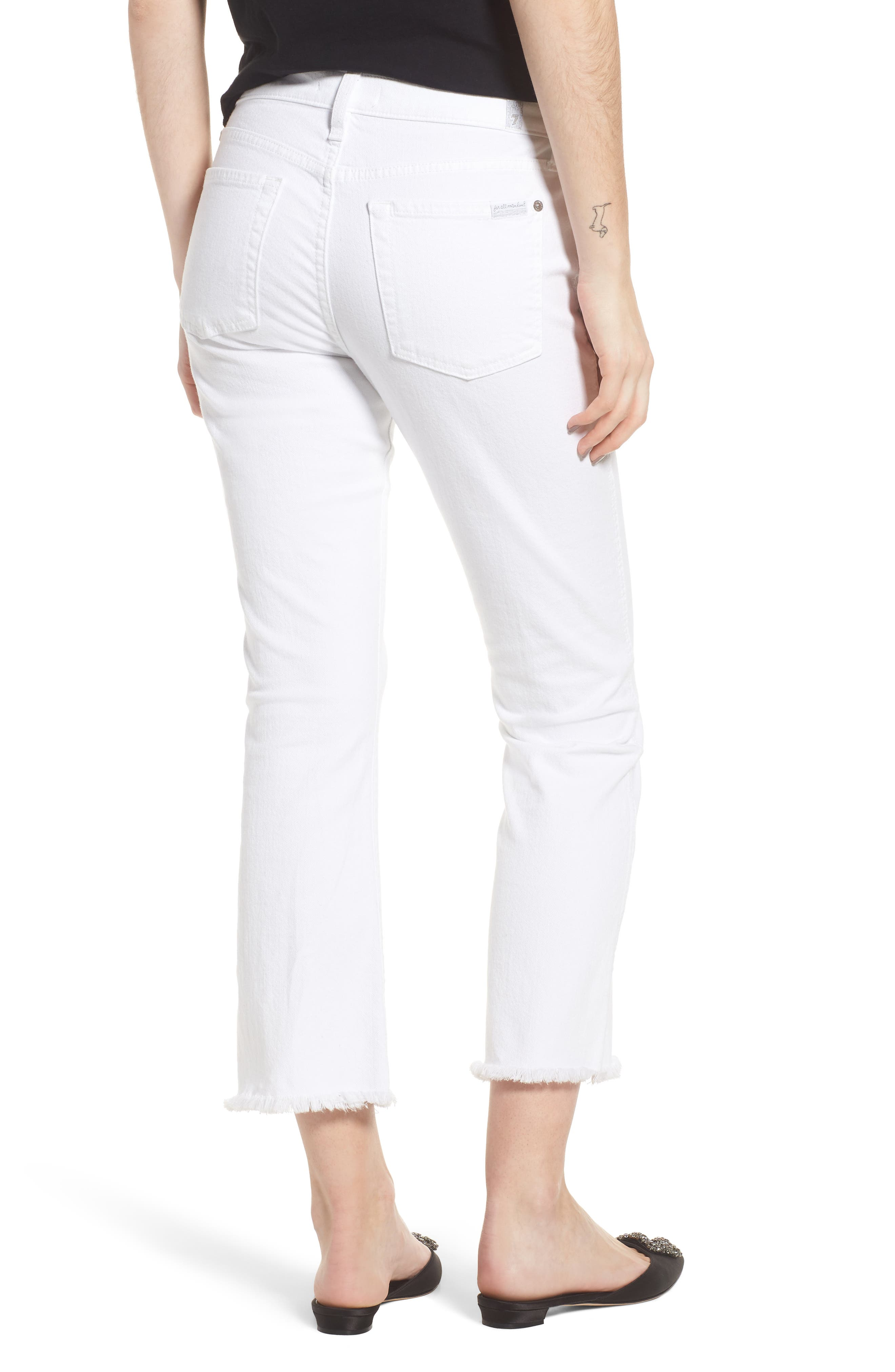 Frayed Crop Bootcut Jeans,                             Alternate thumbnail 2, color,                             White Fashion