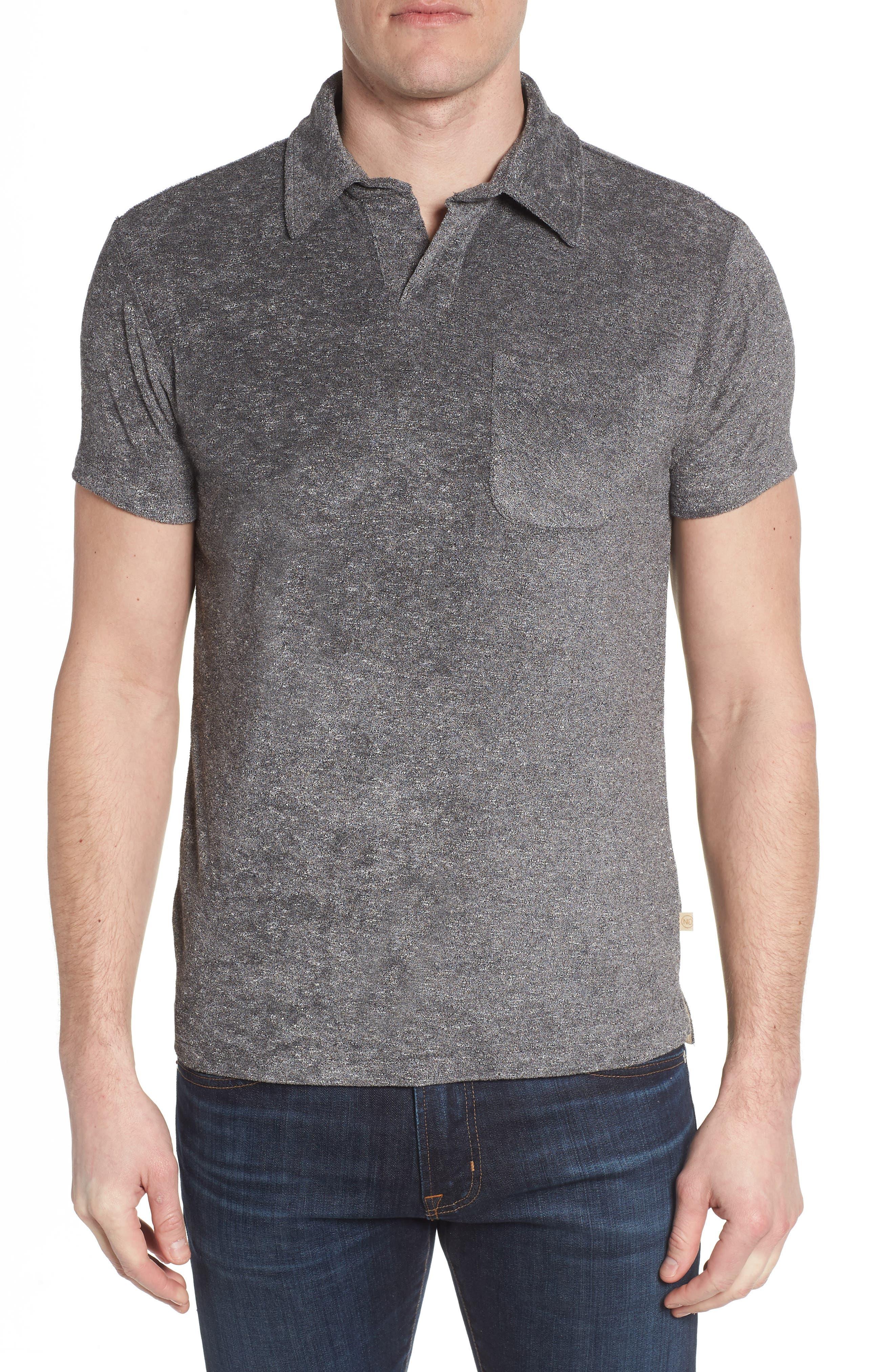 Nicholas Slim Fit Terry Polo,                         Main,                         color, Grey