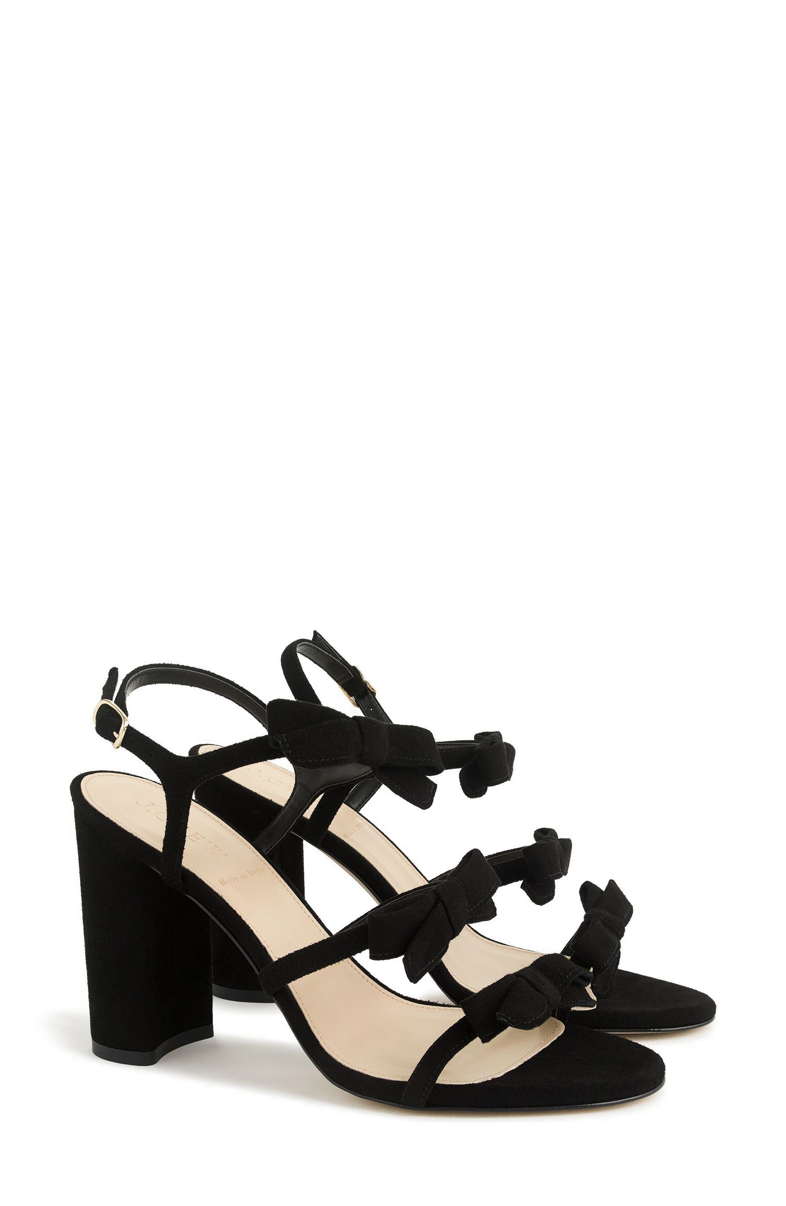 Stella Bow Sandal,                         Main,                         color, Black Fabric