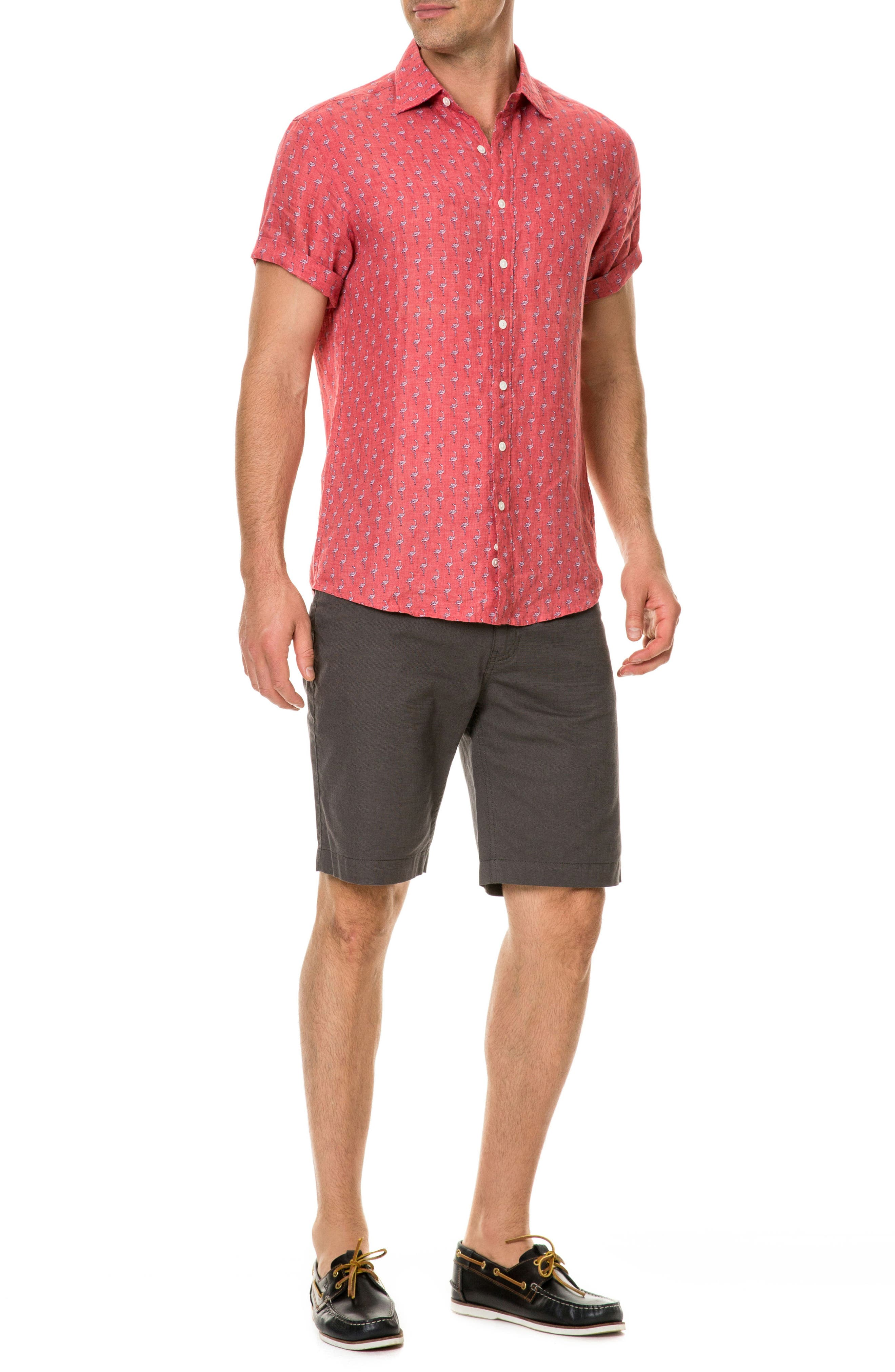 Hans Bay Sports Fit Flamingo Print Sport Shirt,                             Alternate thumbnail 5, color,                             Coral