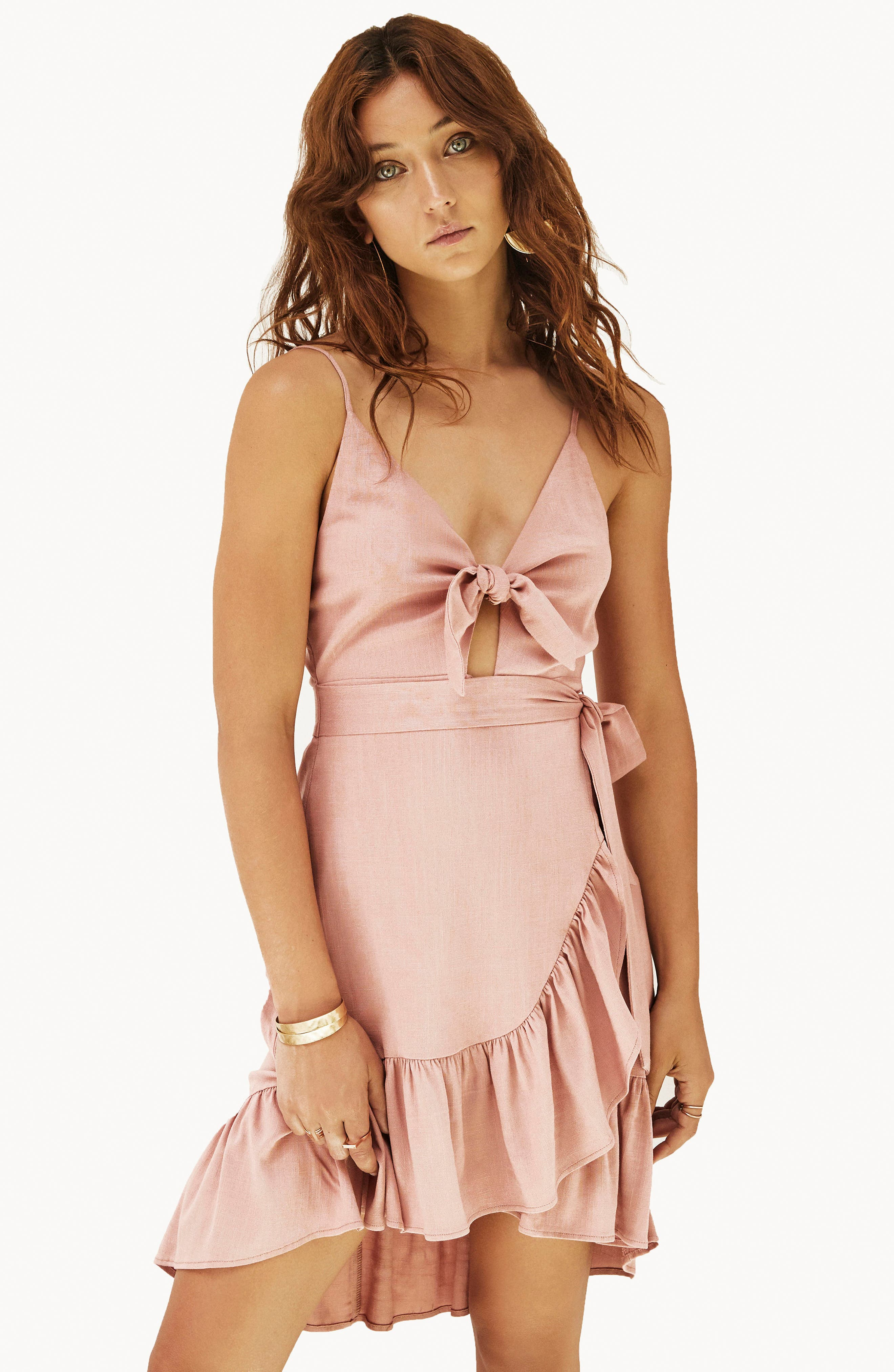 Sandy High/Low Minidress,                             Alternate thumbnail 2, color,                             Carnation Pink
