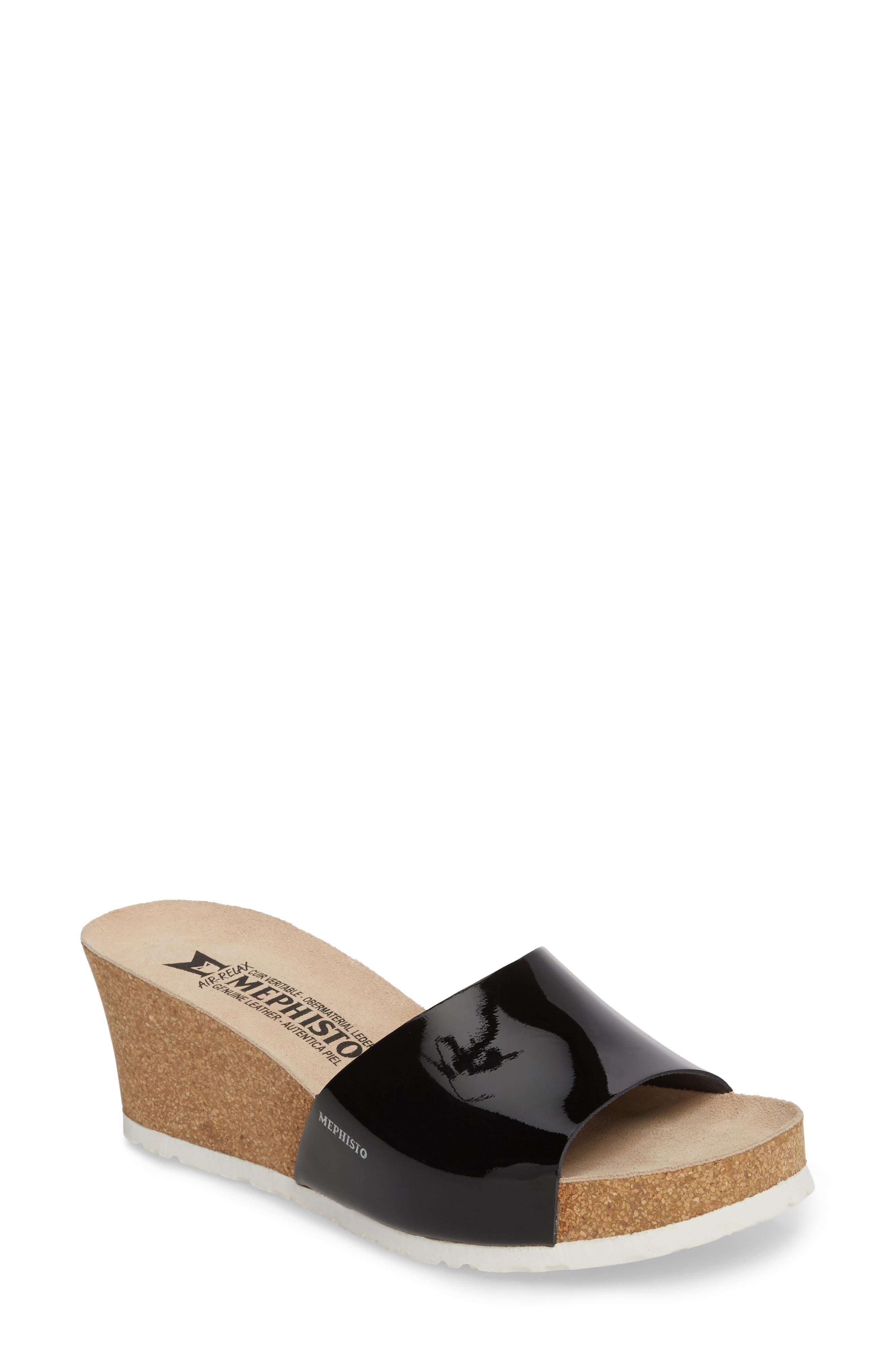 Lise Platform Wedge Sandal,                             Main thumbnail 1, color,                             Black