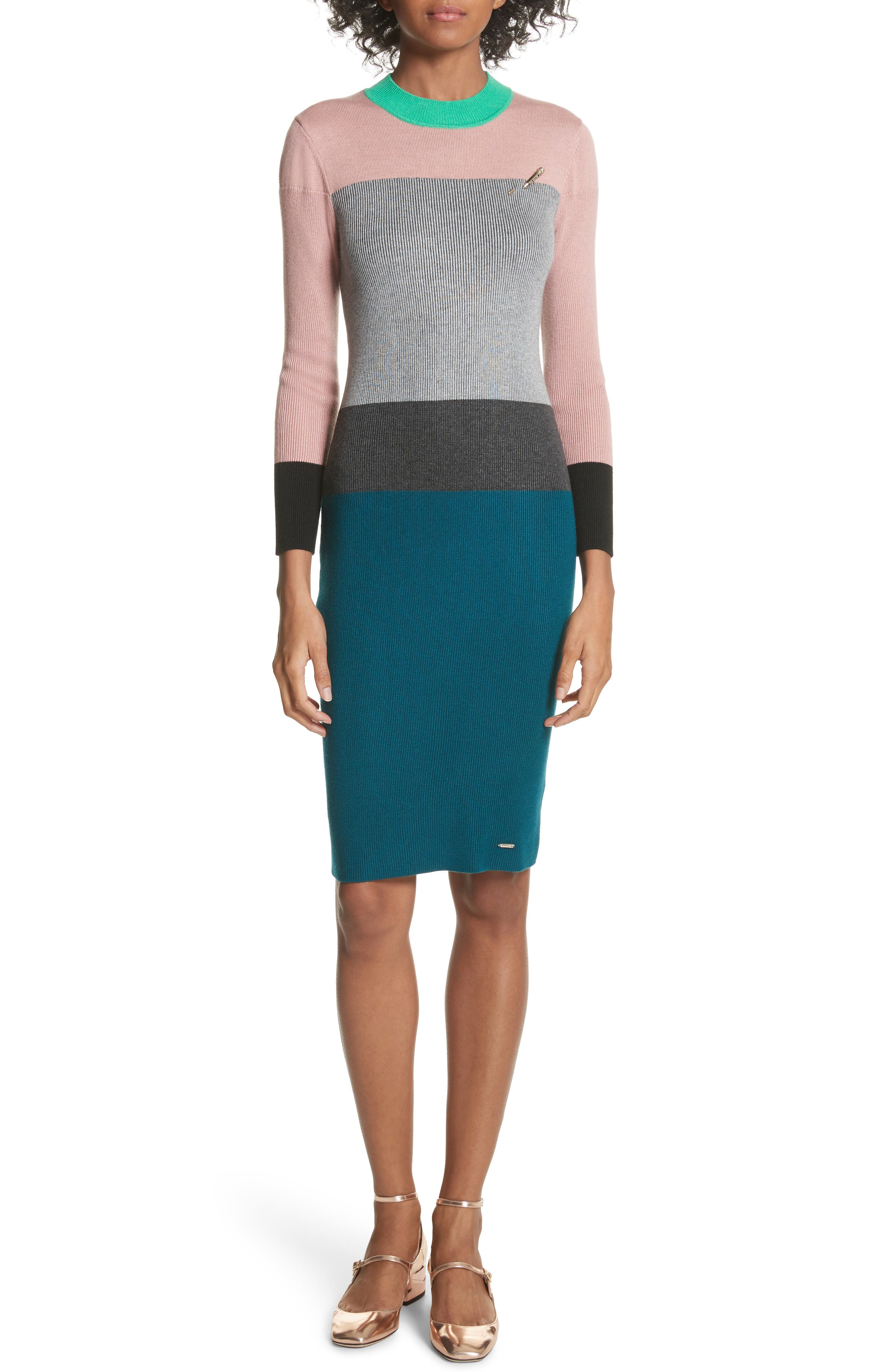 Colour by Numbers Colorblock Sweater Dress,                             Main thumbnail 1, color,                             Grey