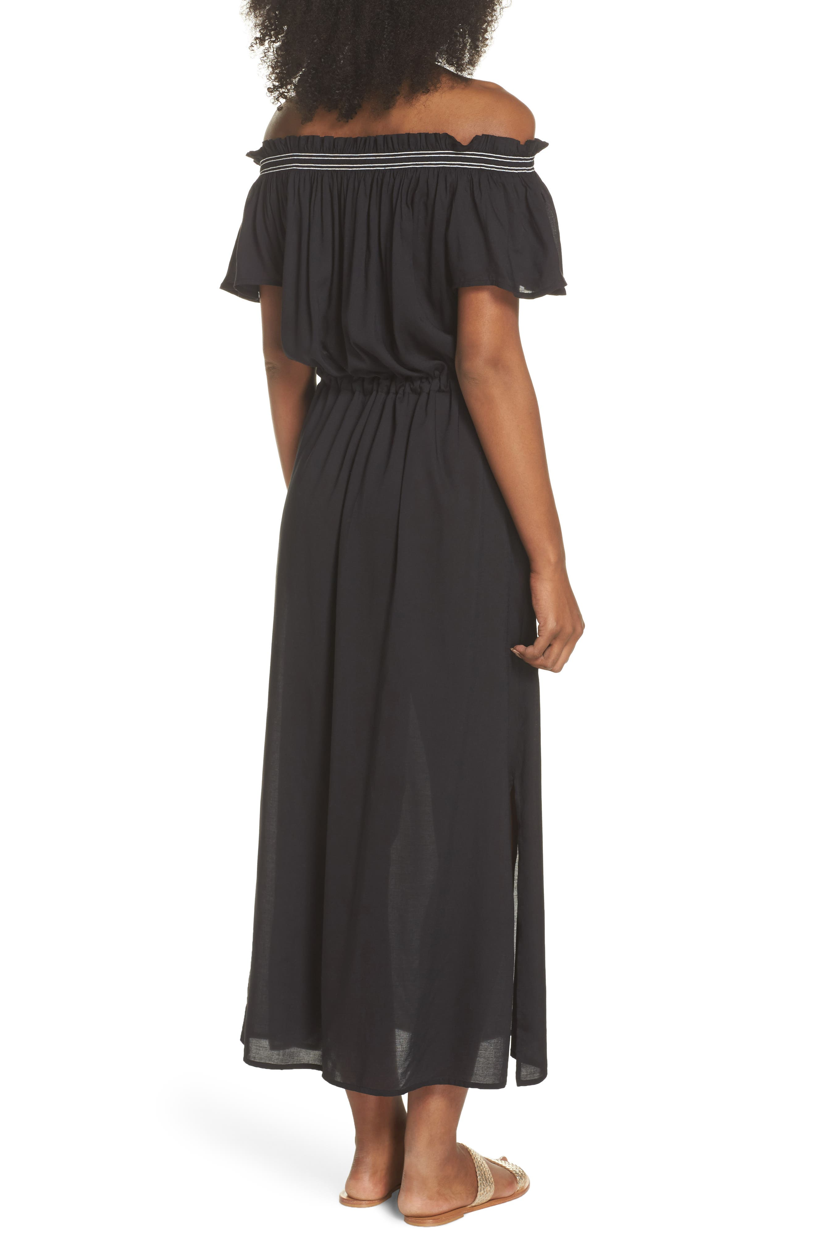Off the Shoulder Cover-Up Dress,                             Alternate thumbnail 2, color,                             Black