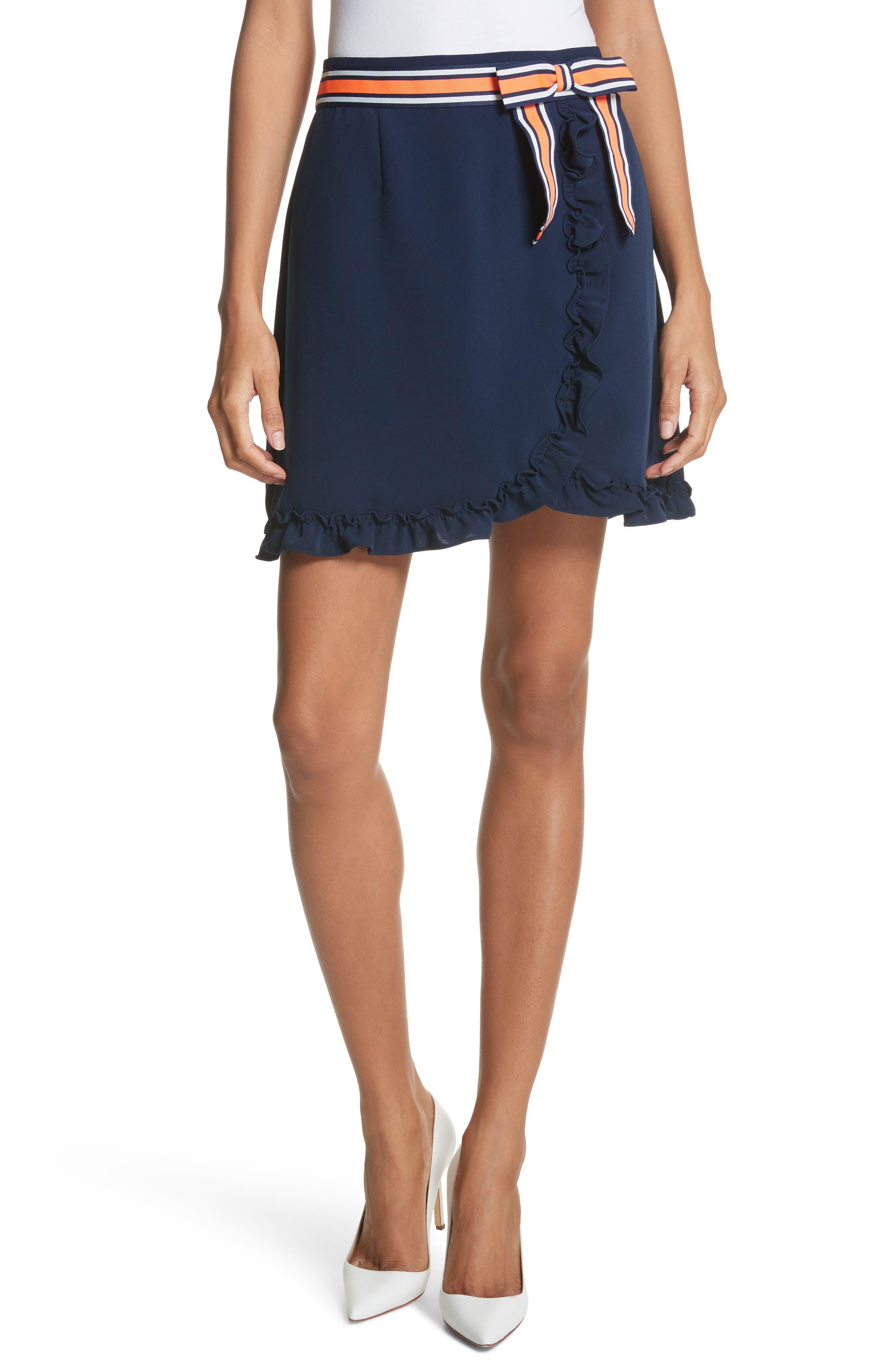 Xzenia Bow Miniskirt,                         Main,                         color, Navy