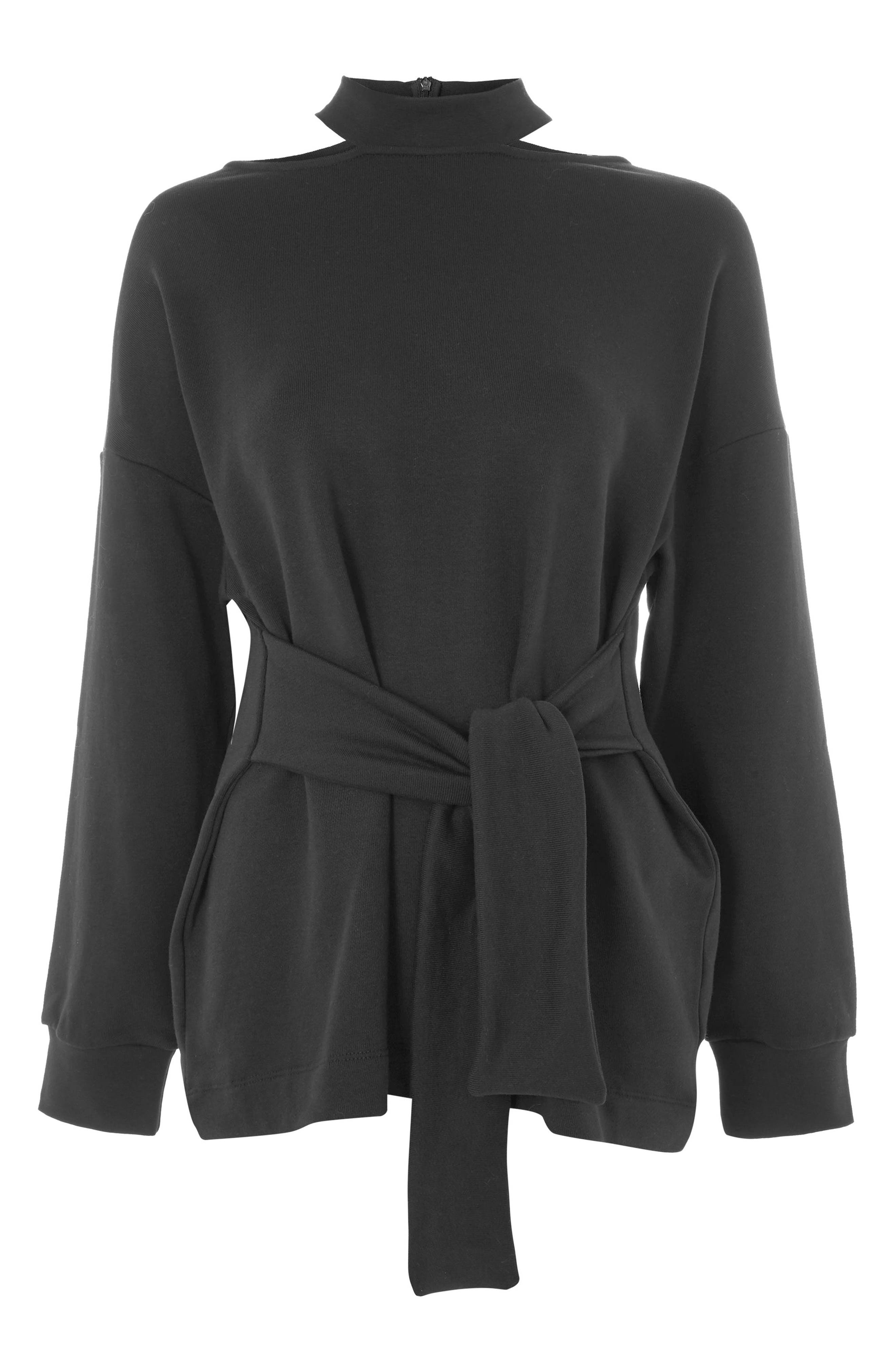 Cutout Belted Sweater,                             Alternate thumbnail 3, color,                             Black