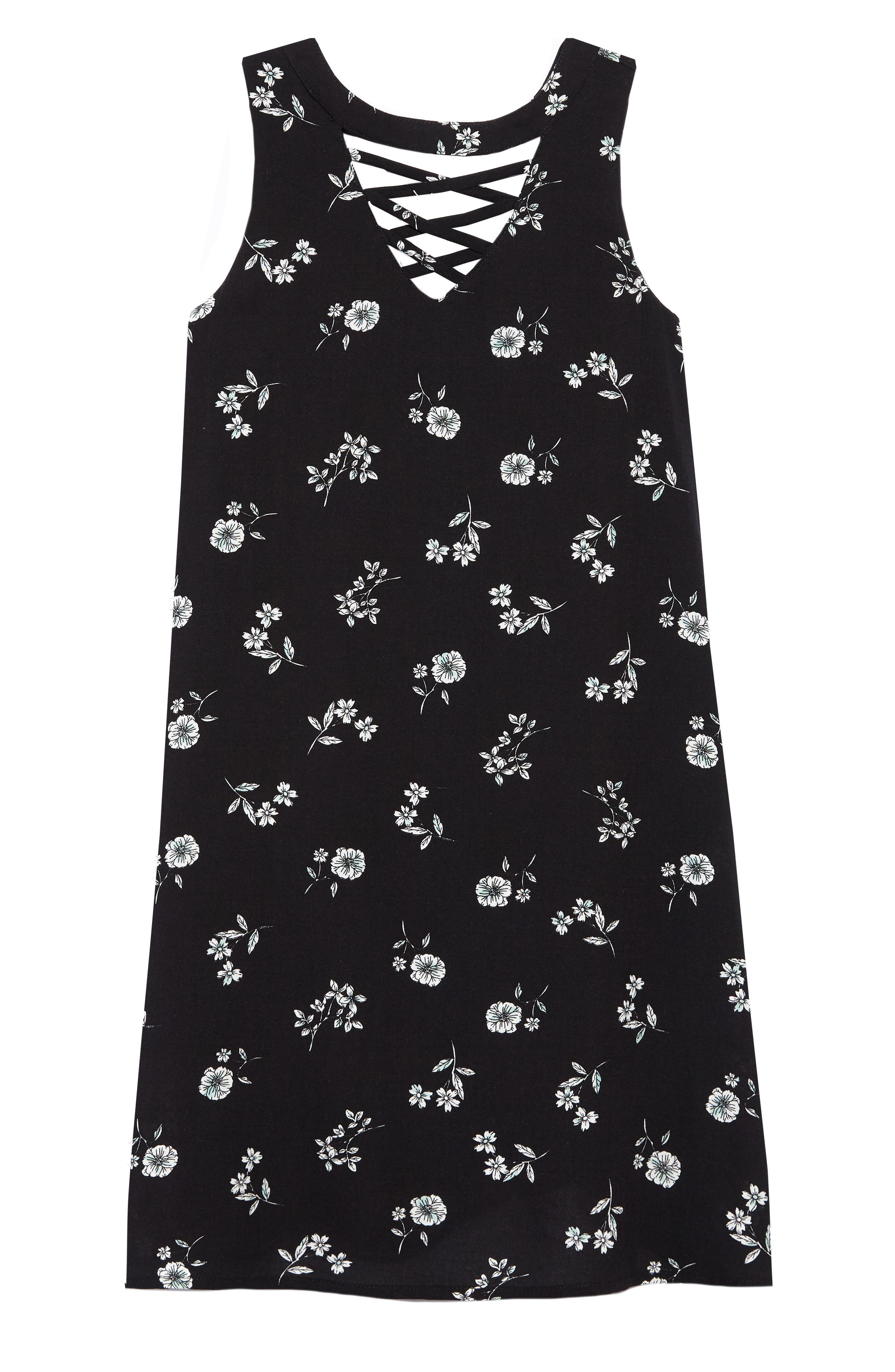 Alternate Image 1 Selected - Truly Me Floral Sleeveless Shift Dress (Big Girls)