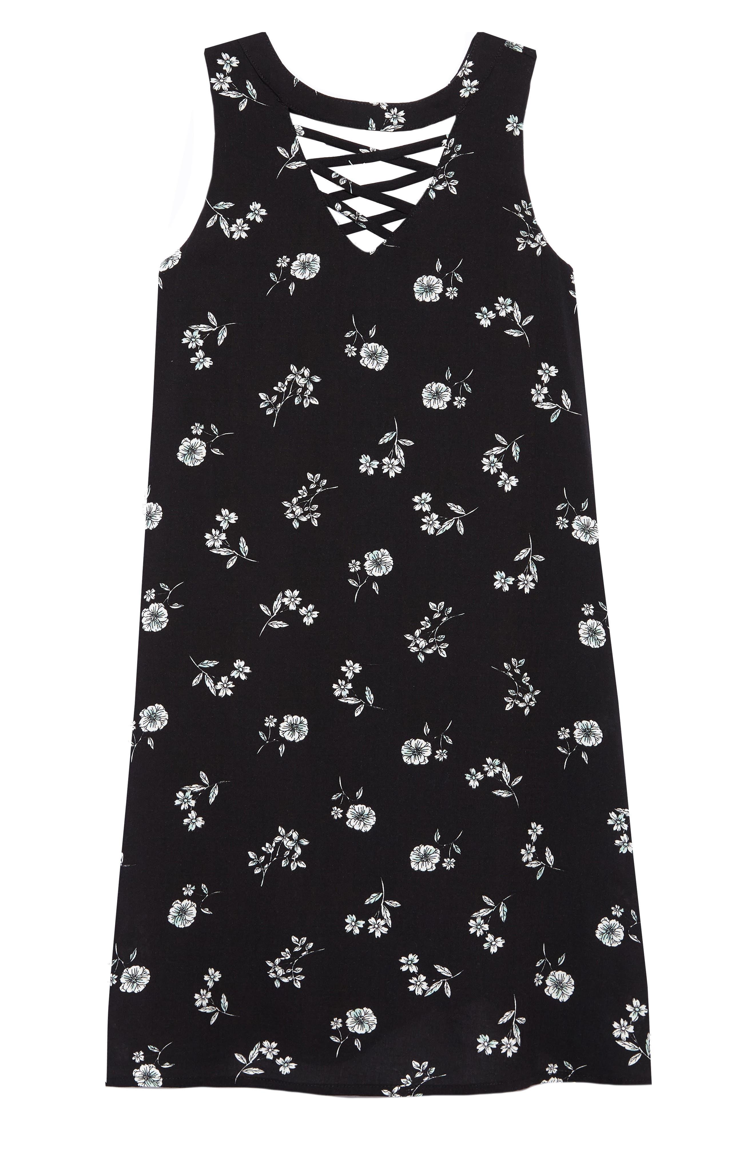 Floral Sleeveless Shift Dress,                         Main,                         color, Black Multi