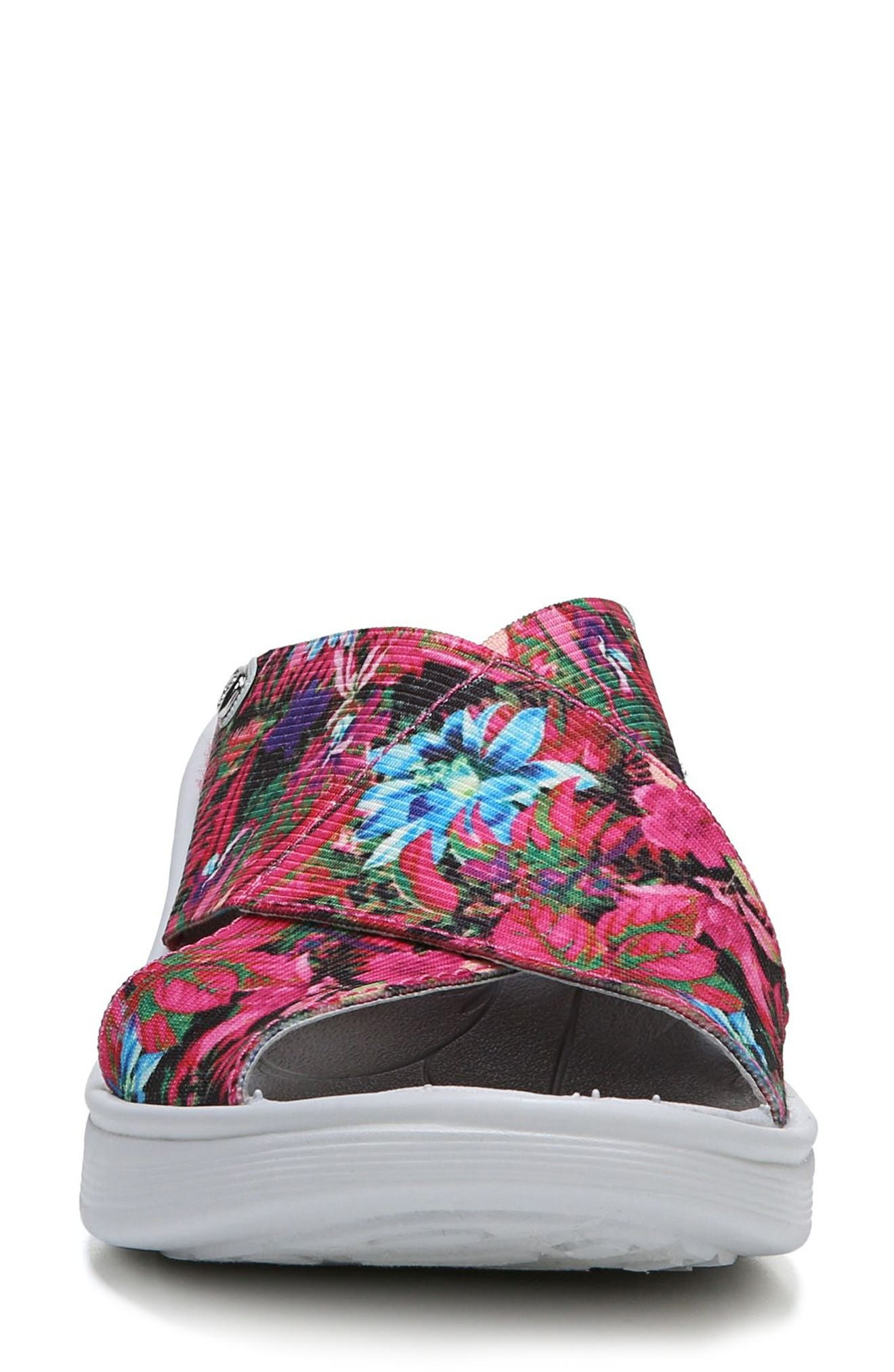 'Desire' Wedge Sandal,                             Alternate thumbnail 4, color,                             Pink Floral Fabric