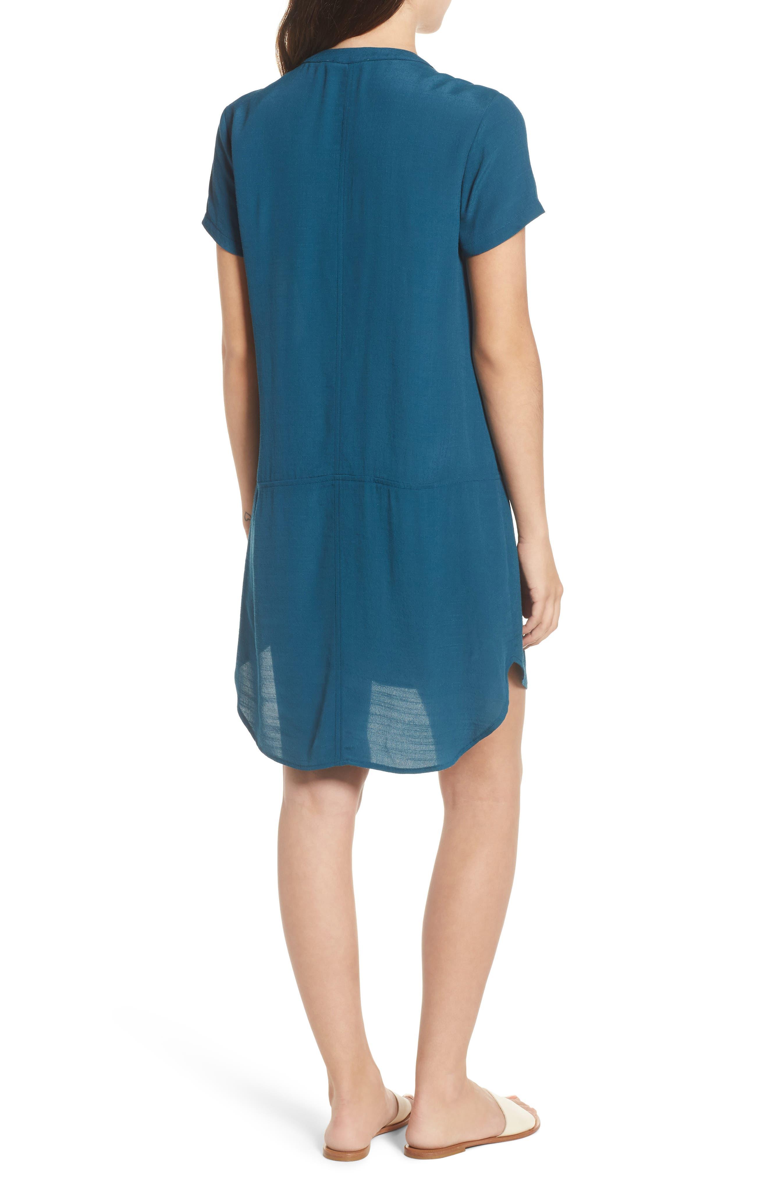 Split Neck Shift Dress,                             Alternate thumbnail 2, color,                             Legion Blue