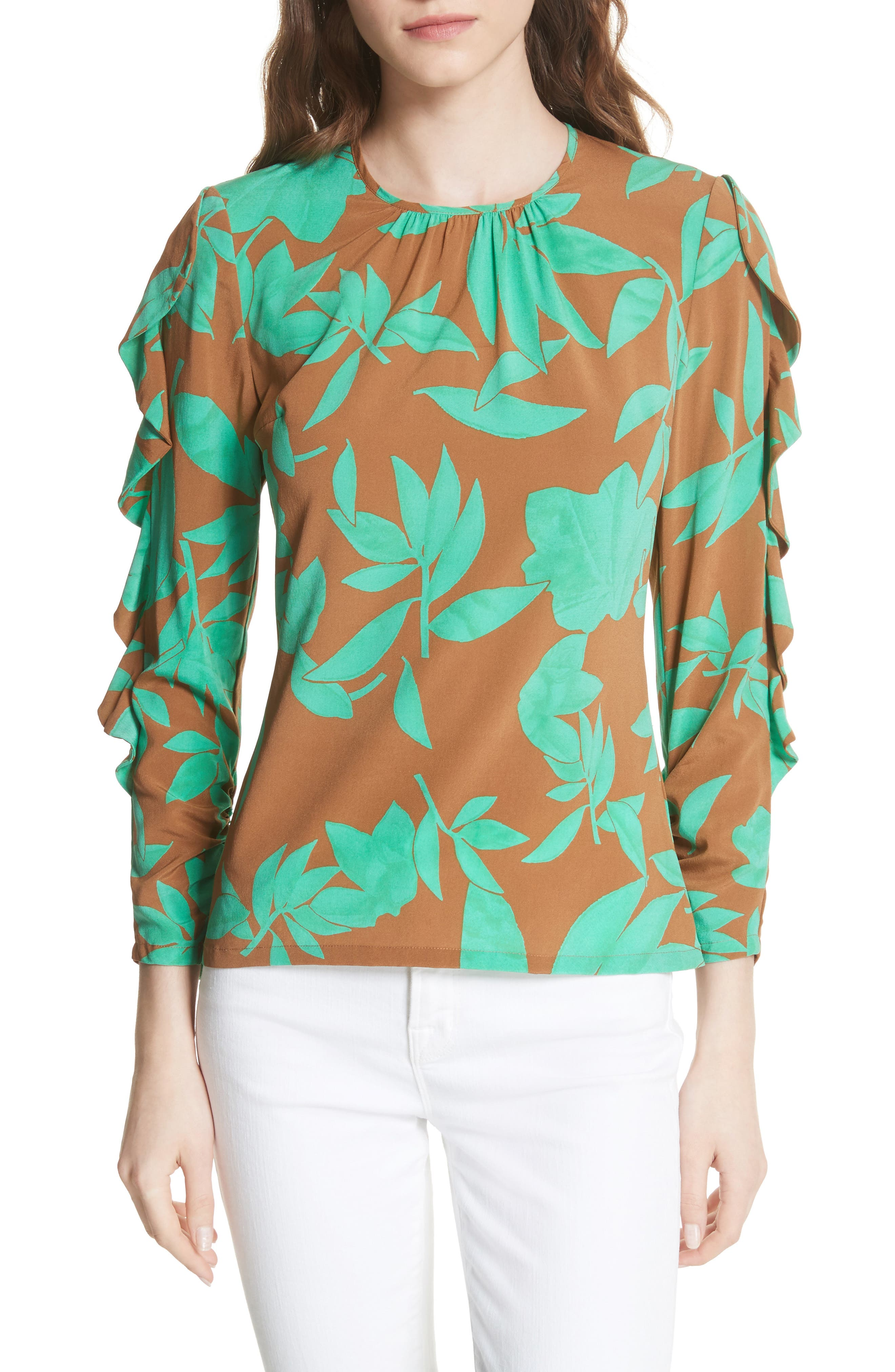 Frilled Floral Stretch Silk Top,                             Main thumbnail 1, color,                             Acorn/ Jade