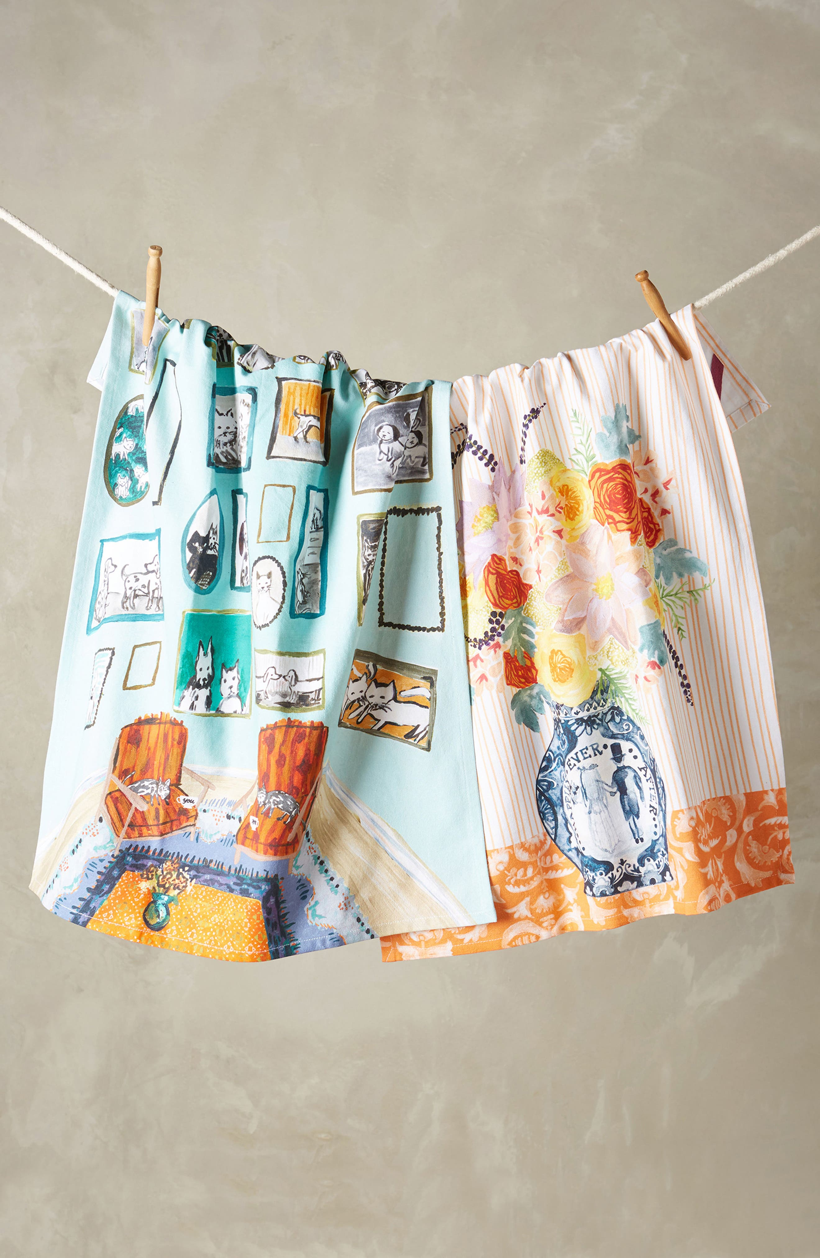 Post-Impressionism Tea Towel,                             Alternate thumbnail 2, color,                             Coral