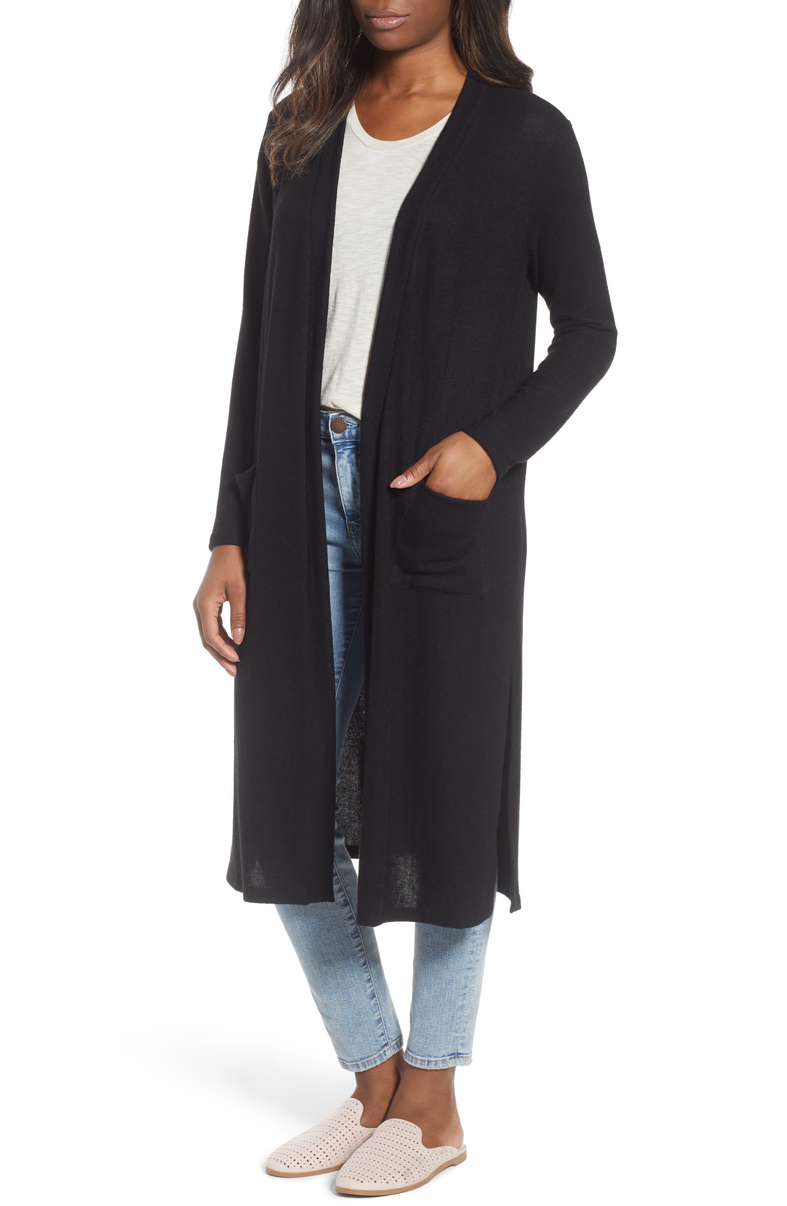 Long Fleece Open Cardigan,                         Main,                         color, Black