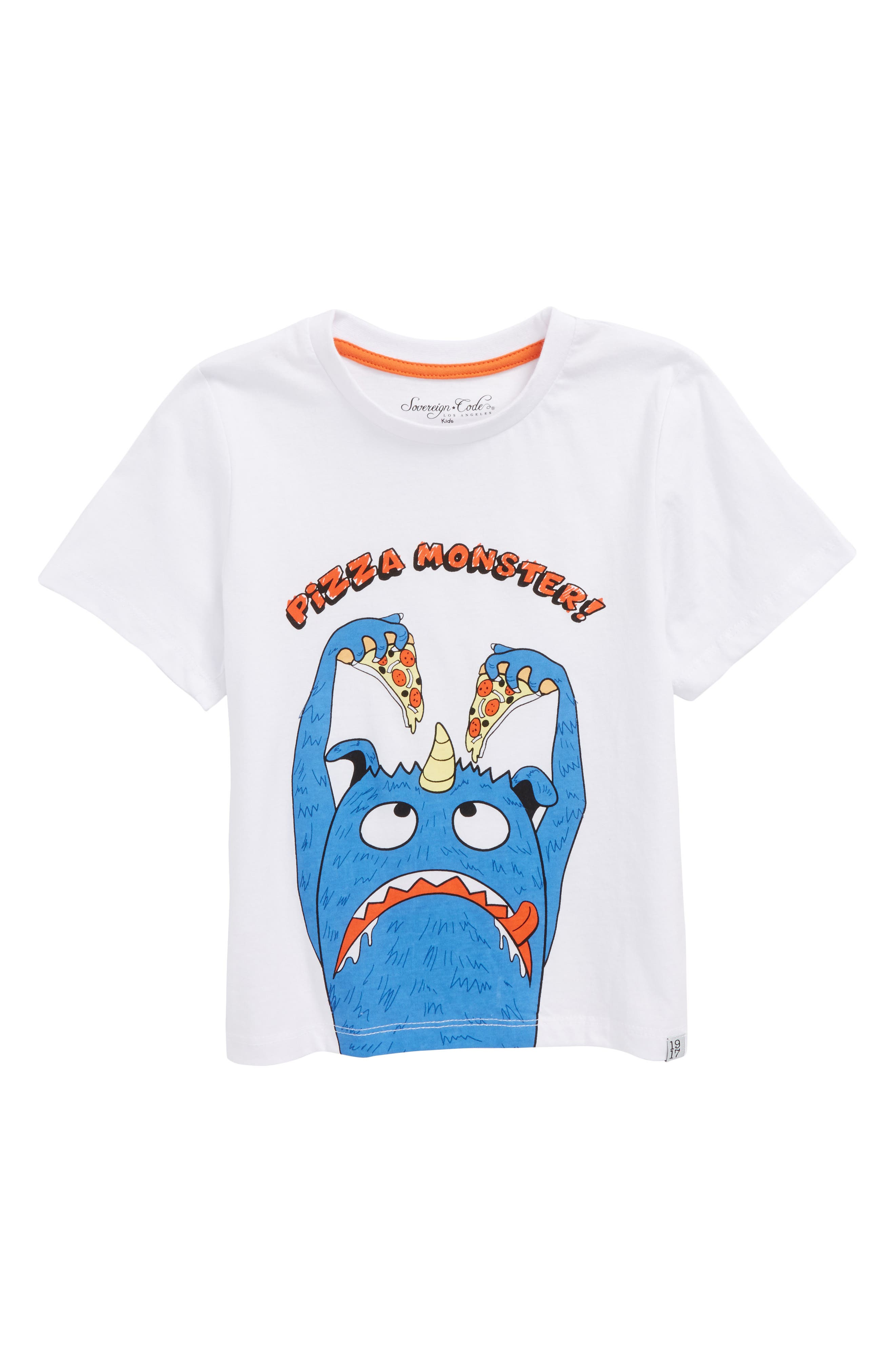 Pizza Monster Graphic T-Shirt,                         Main,                         color, White