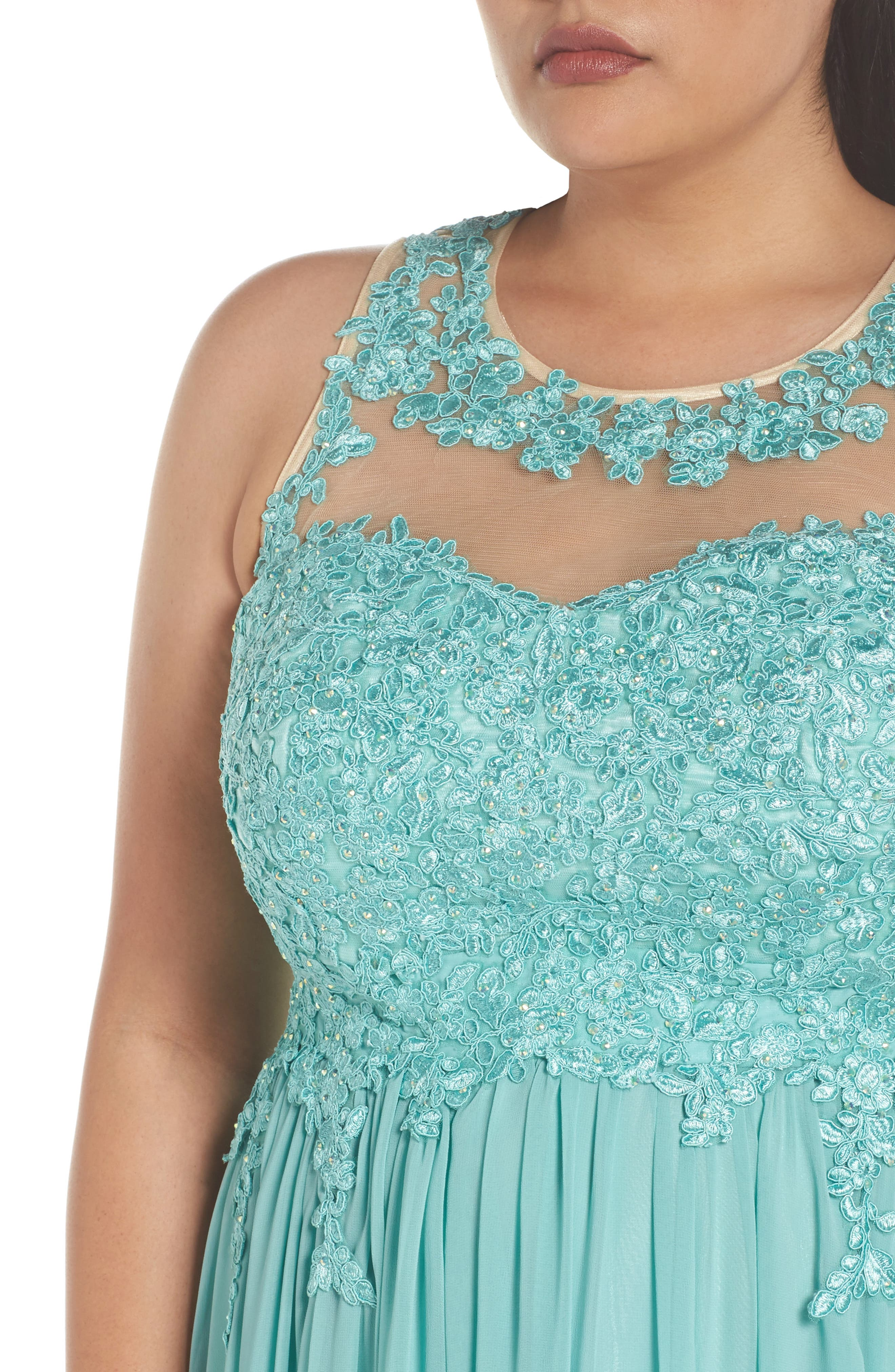Embellished A-Line Chiffon Gown,                             Alternate thumbnail 4, color,                             Mint