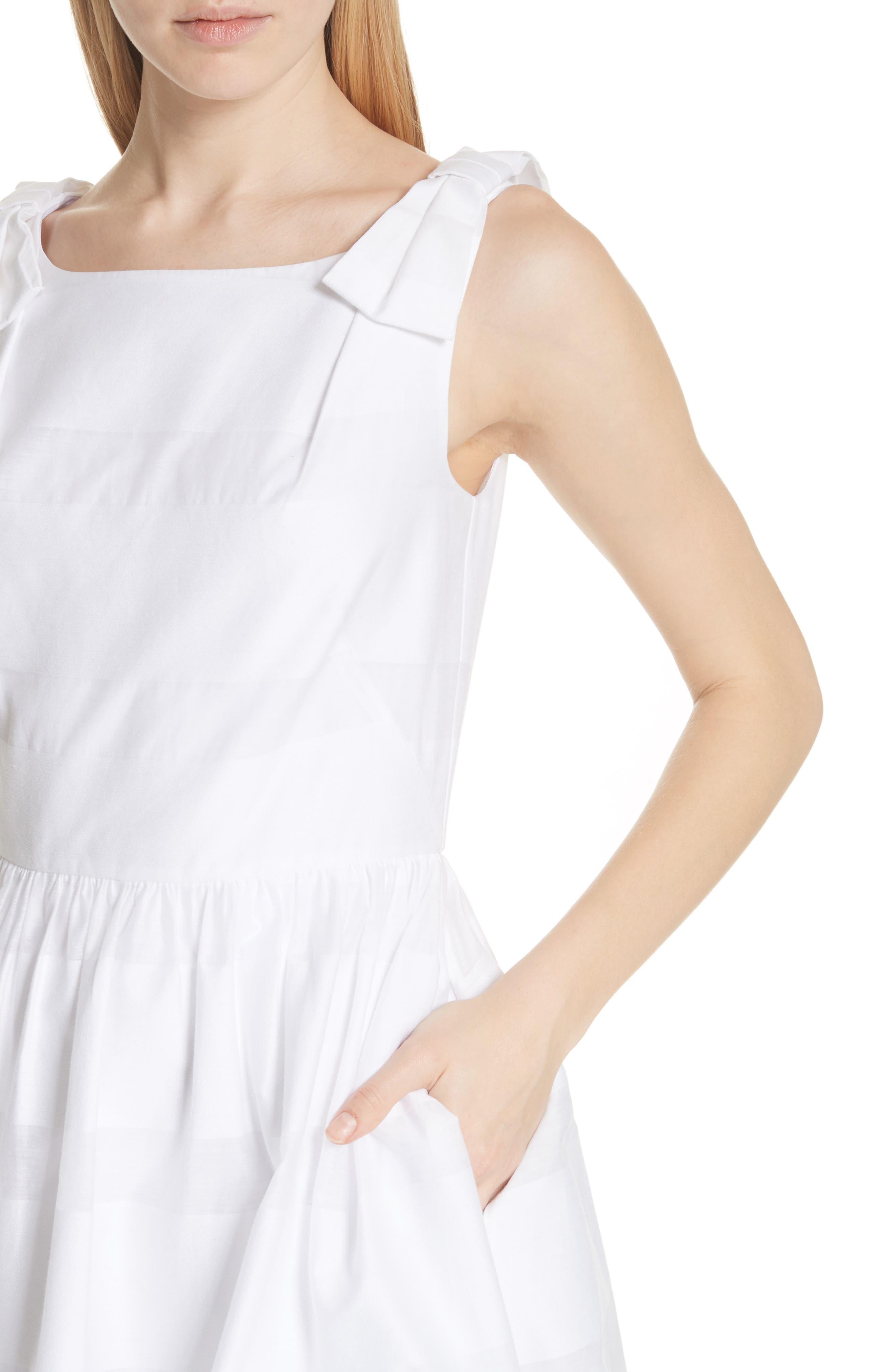 tonal stripe fit & flare dress,                             Alternate thumbnail 4, color,                             Fresh White
