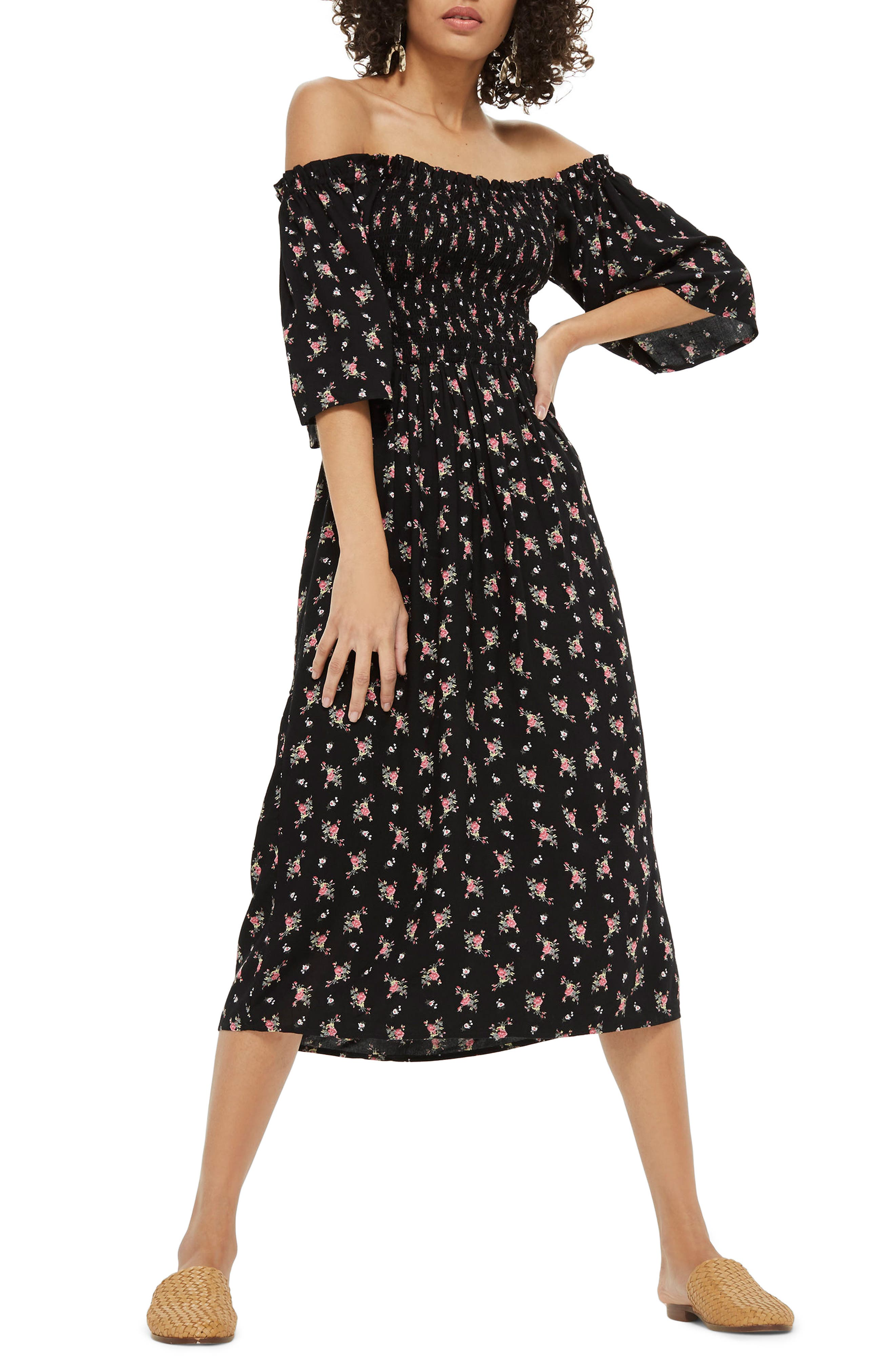 Shirred Bell Sleeve Midi Dress,                             Main thumbnail 1, color,                             Black Multi