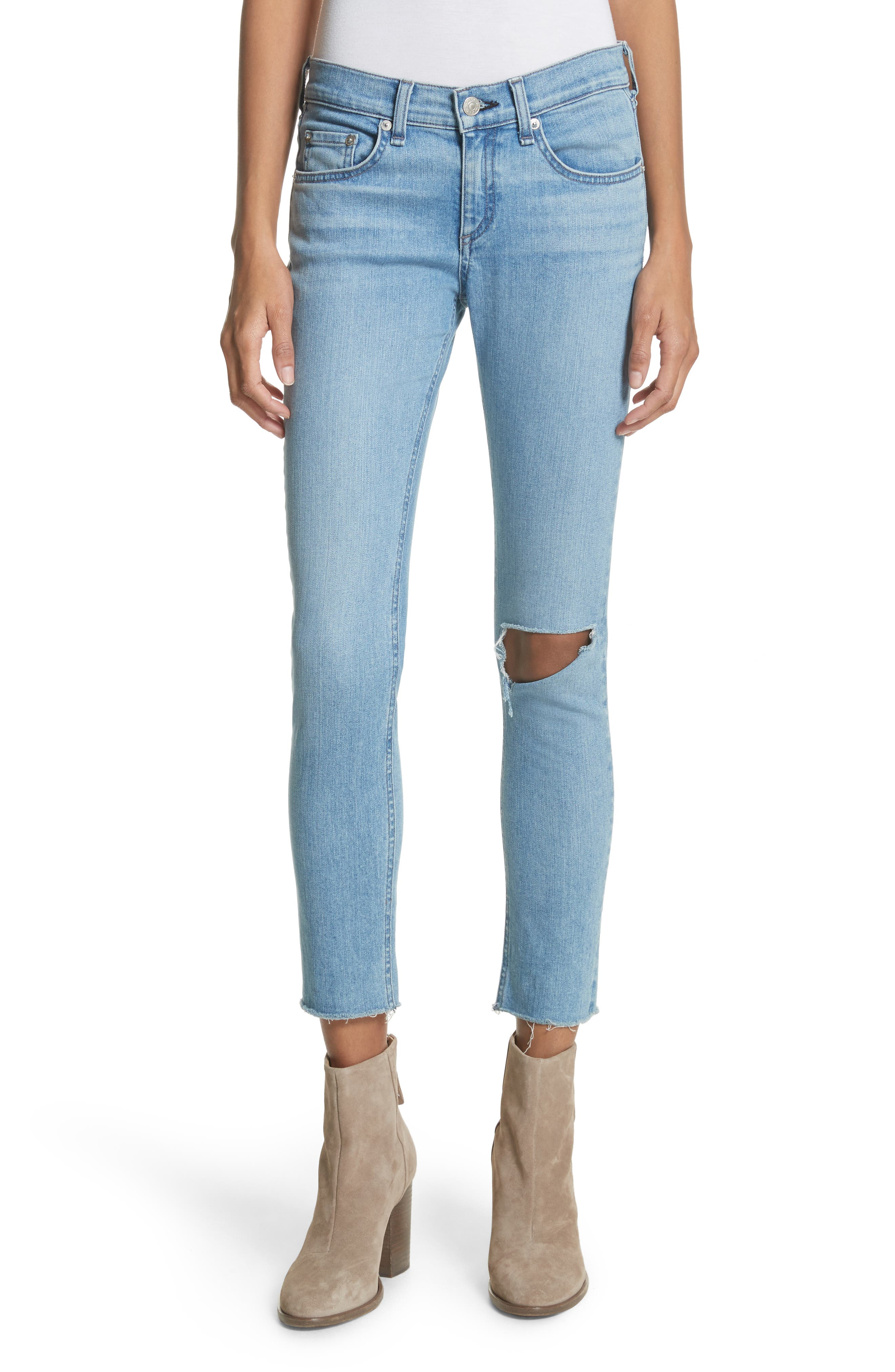 Ripped Ankle Skinny Jeans,                             Main thumbnail 1, color,                             Lena