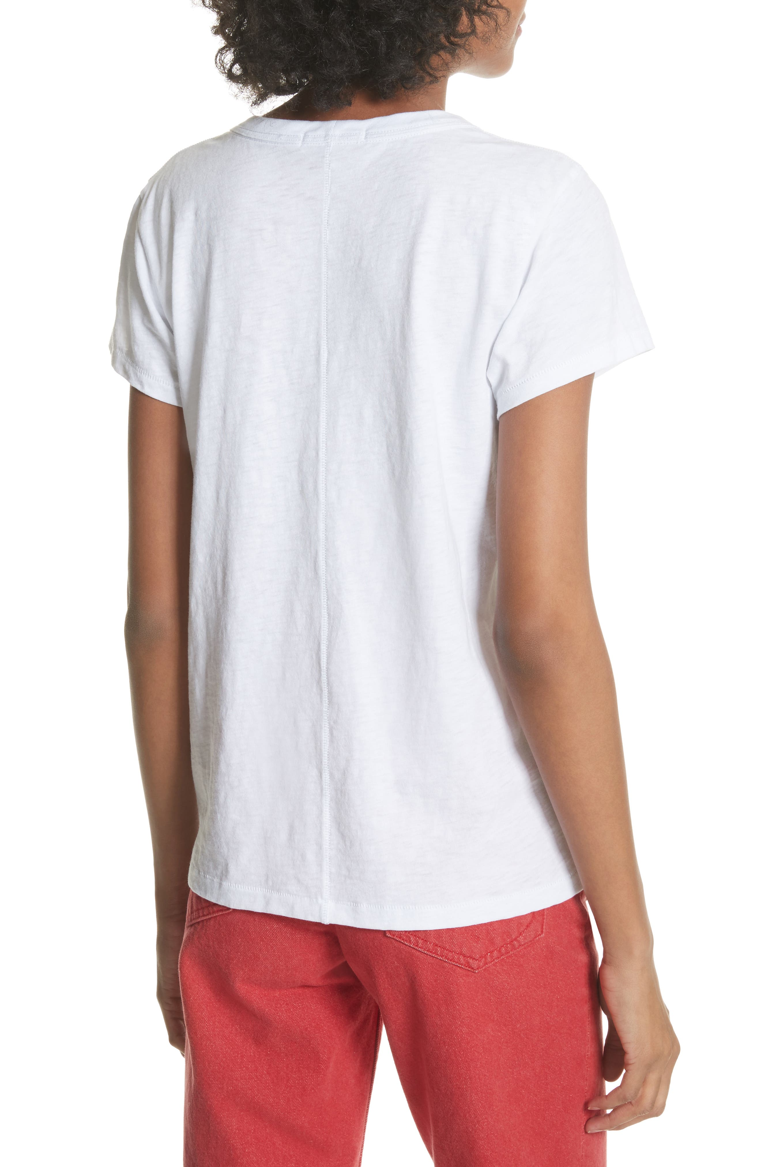 Rose Embroidered Tee,                             Alternate thumbnail 2, color,                             White