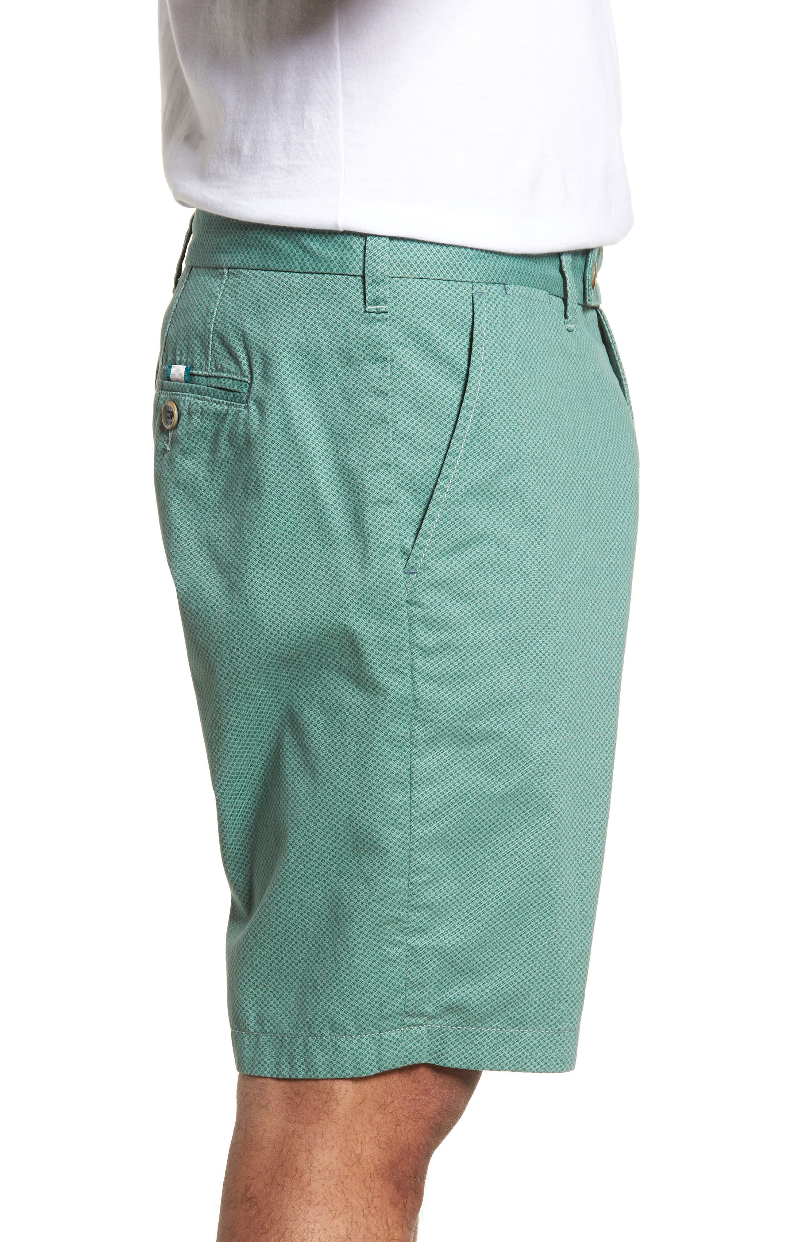 Print Cotton Shorts,                             Alternate thumbnail 3, color,                             Green