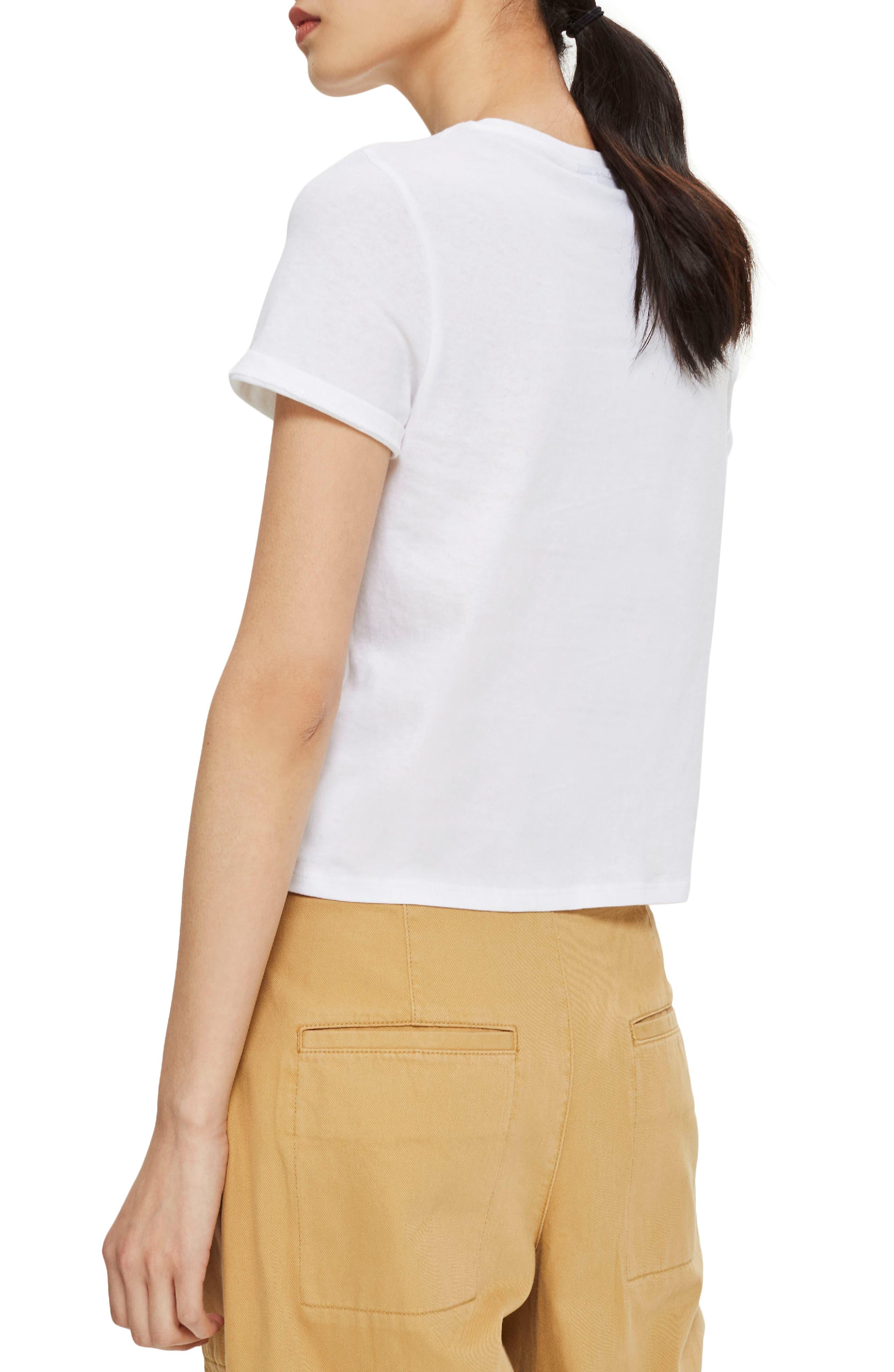 Basic Crop T-Shirt,                             Alternate thumbnail 2, color,                             White