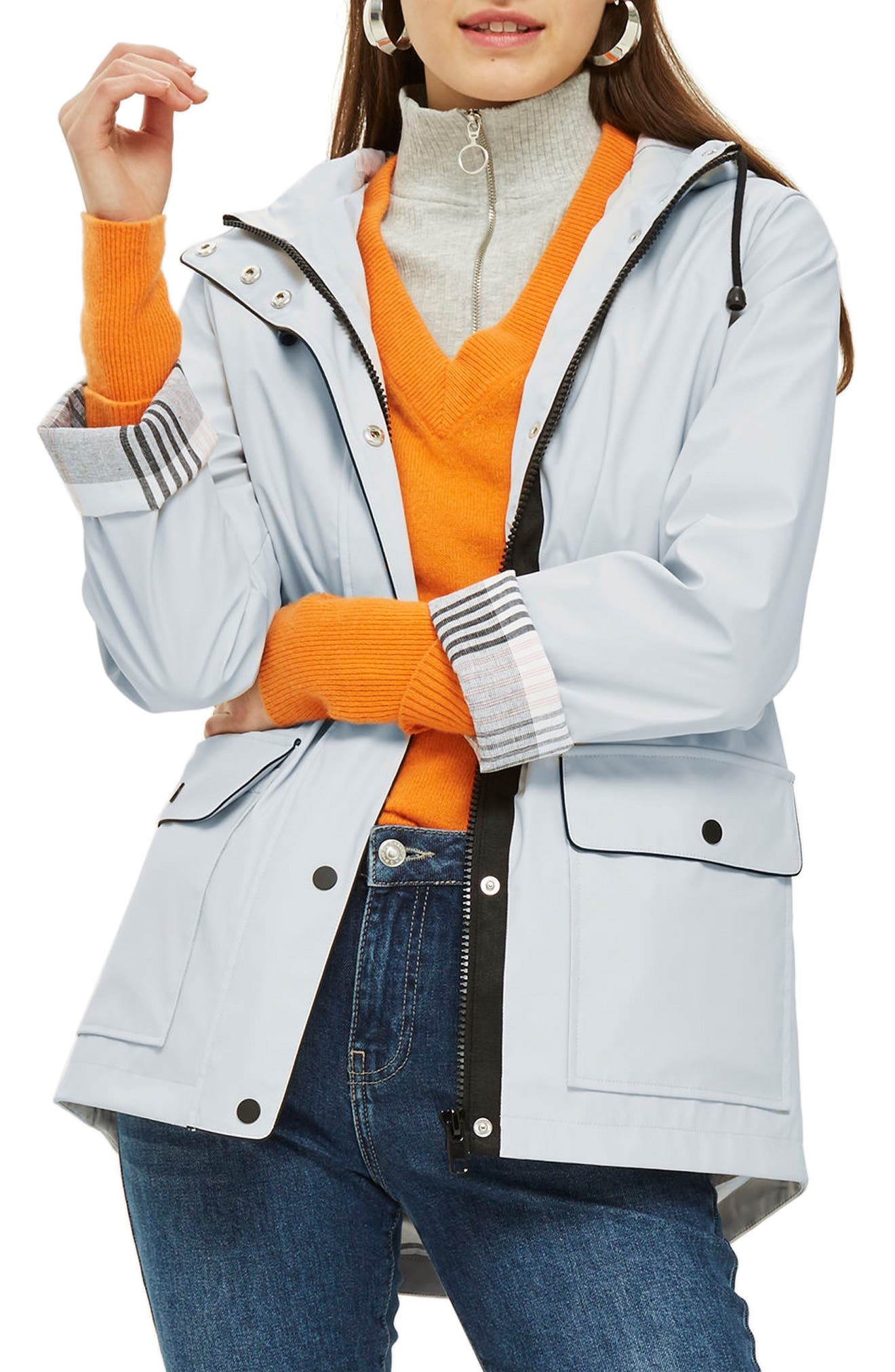 Annie Hooded Rain Jacket,                         Main,                         color, Light Grey