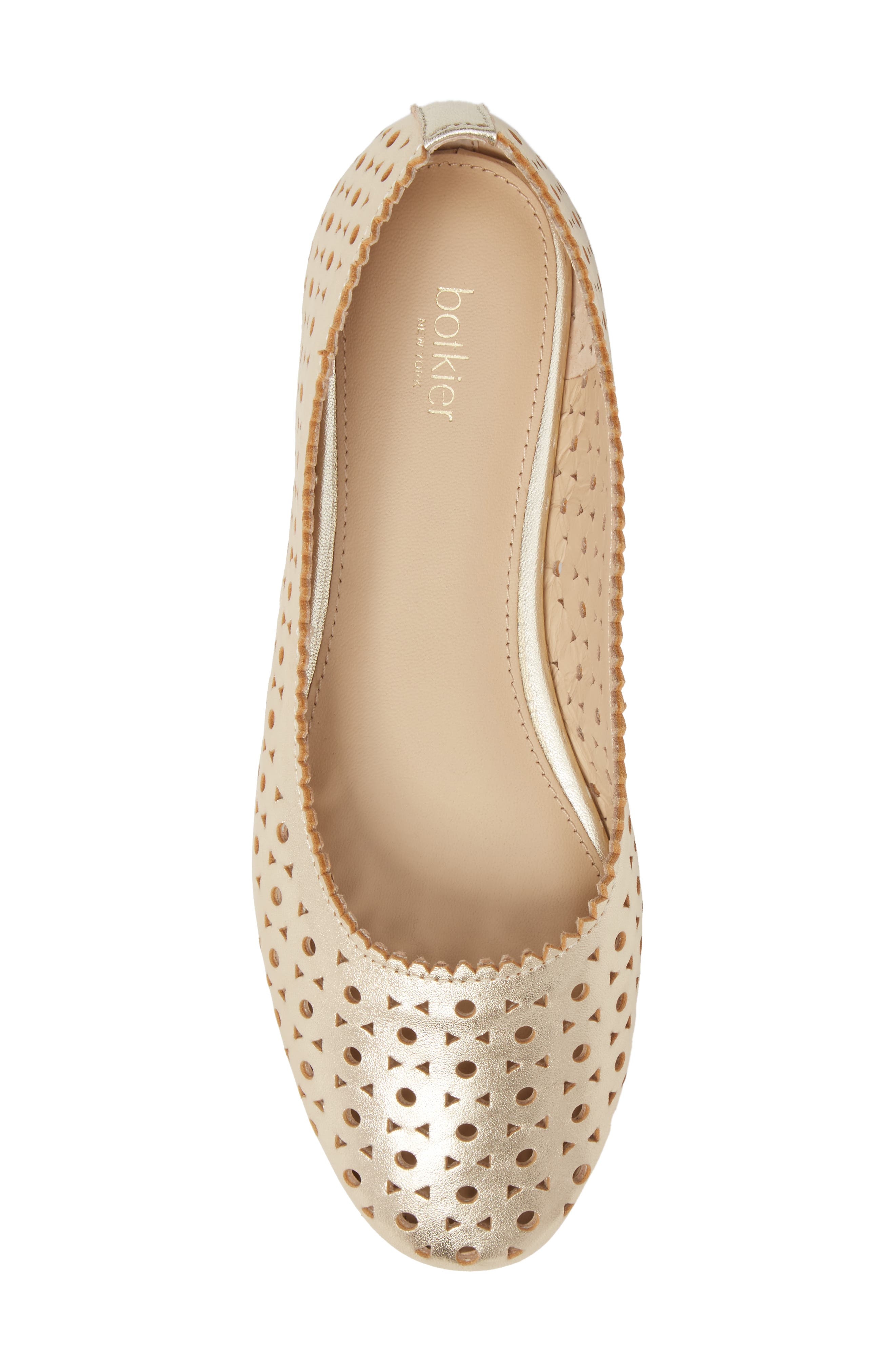 Mandy Flat,                             Alternate thumbnail 5, color,                             Metallic Ivory Leather