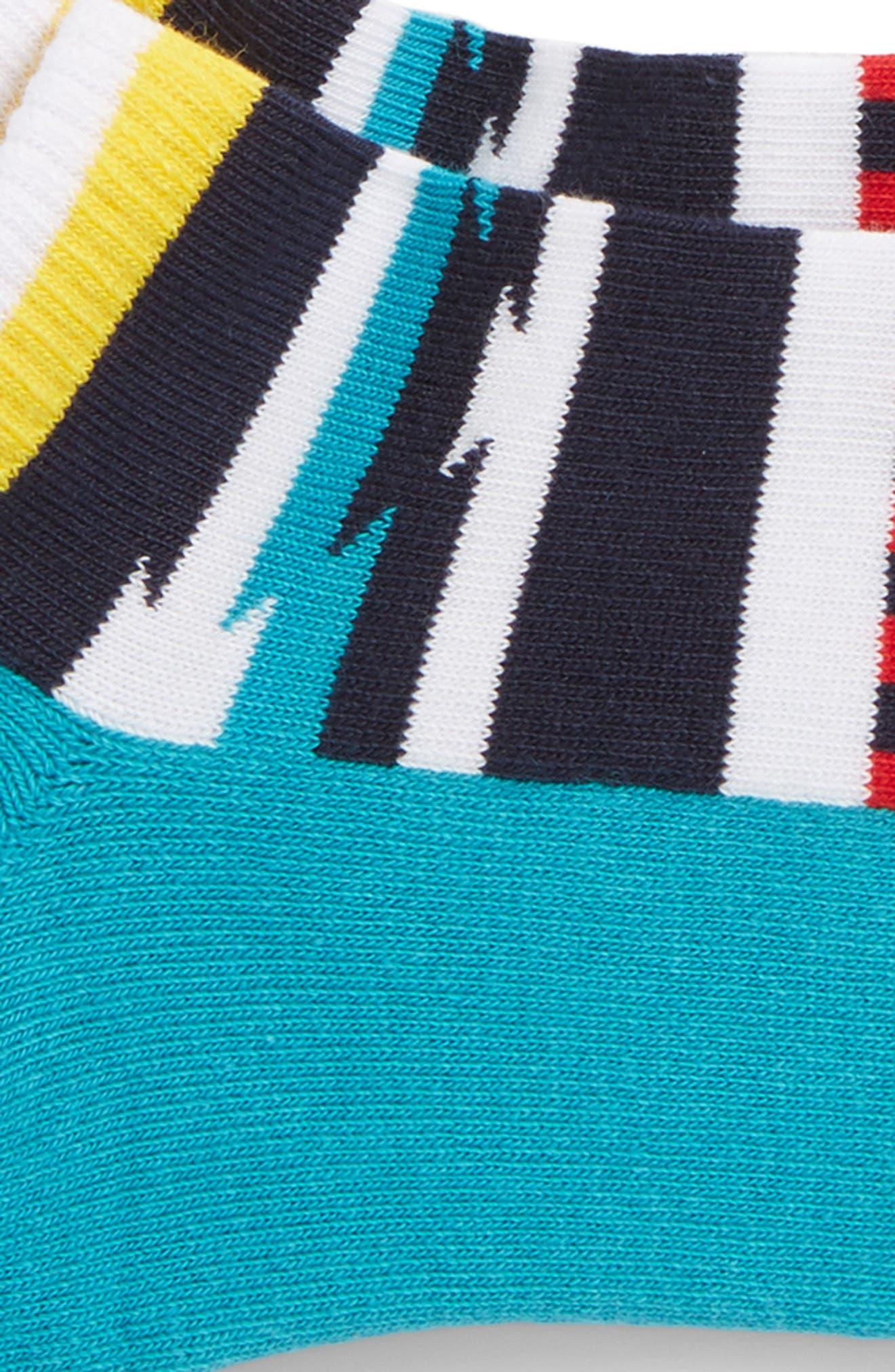 Stripe Low Cut Socks,                             Alternate thumbnail 2, color,                             Teal Multi