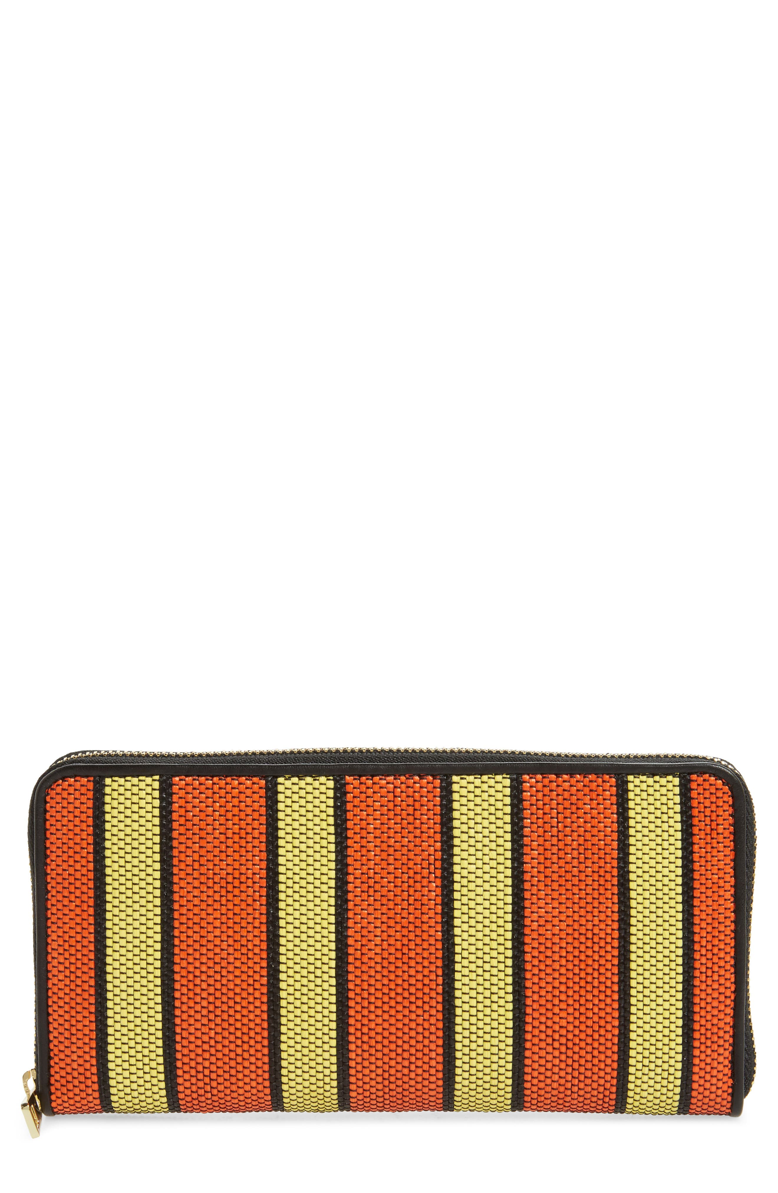 Raffia Continental Zip Wallet,                             Main thumbnail 1, color,                             Orange/ Yellow/ Black