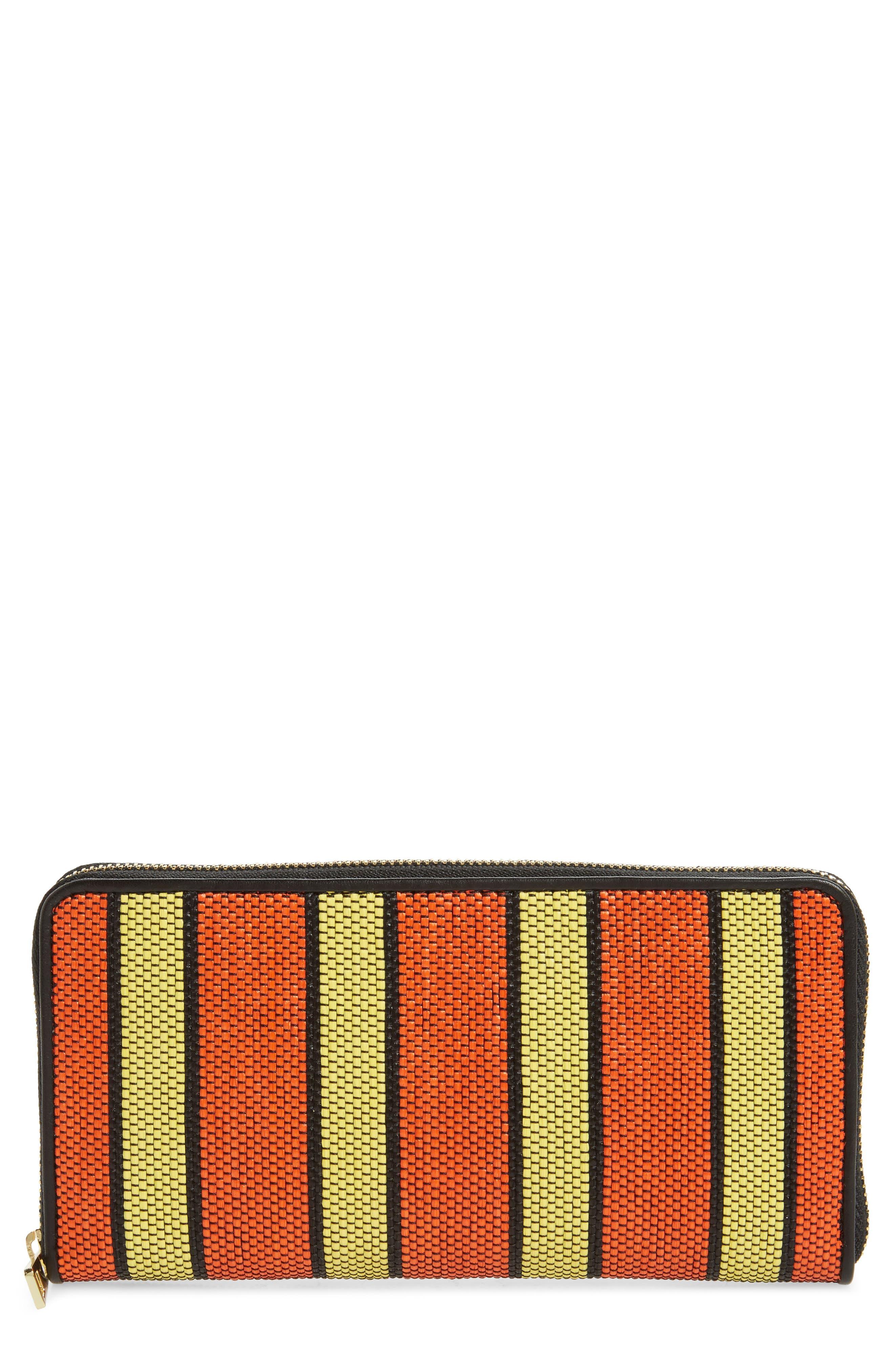 Raffia Continental Zip Wallet,                         Main,                         color, Orange/ Yellow/ Black