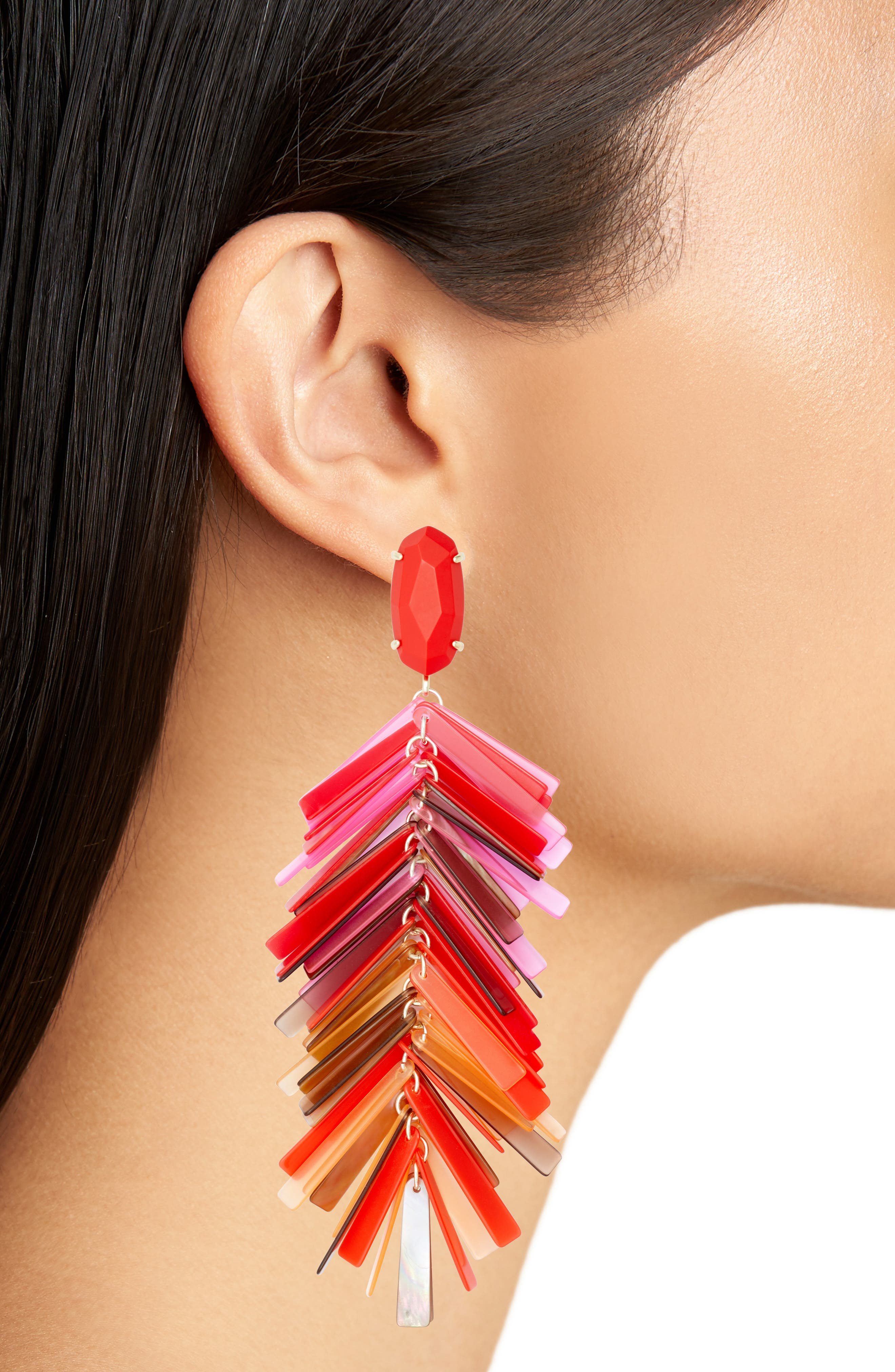 Justyne Drop Earrings,                             Alternate thumbnail 2, color,                             Red Mix/ Gold