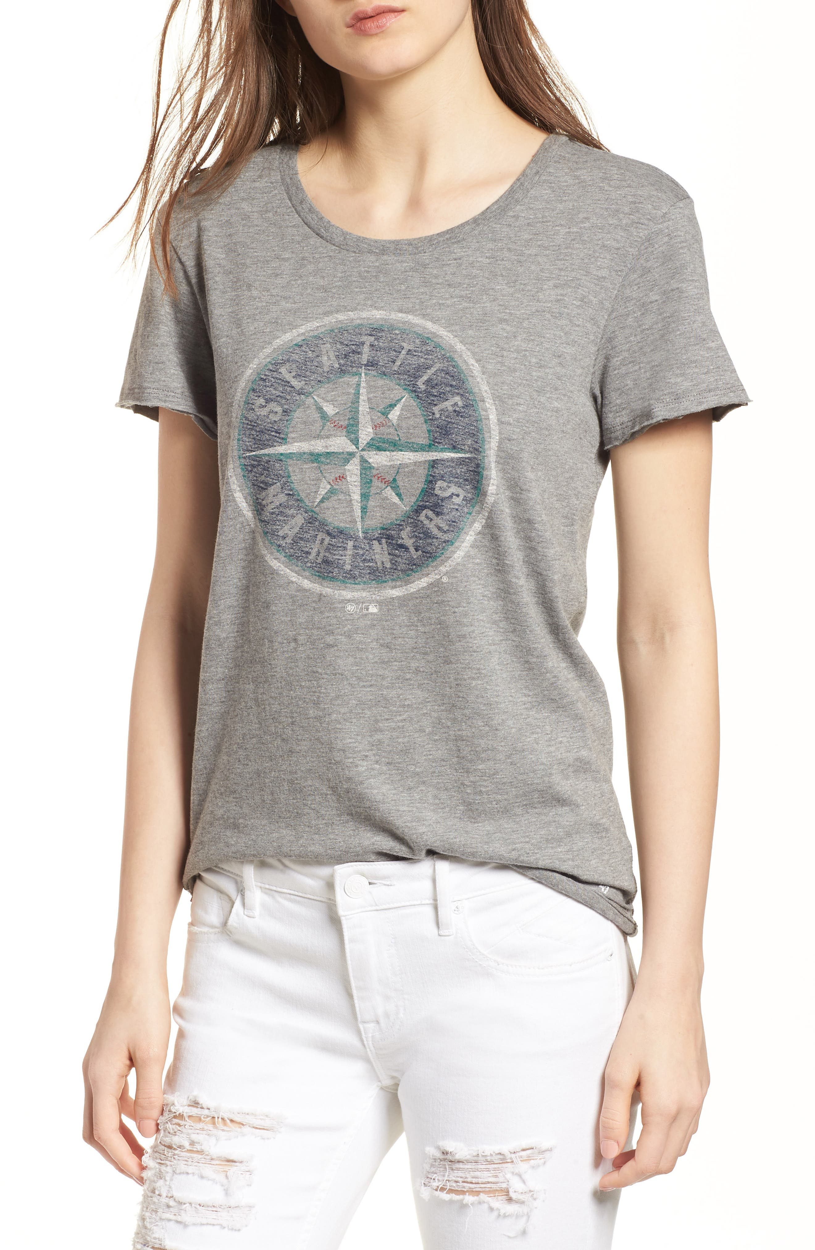 Seattle Mariners Fader Letter Tee,                         Main,                         color, Slate Grey