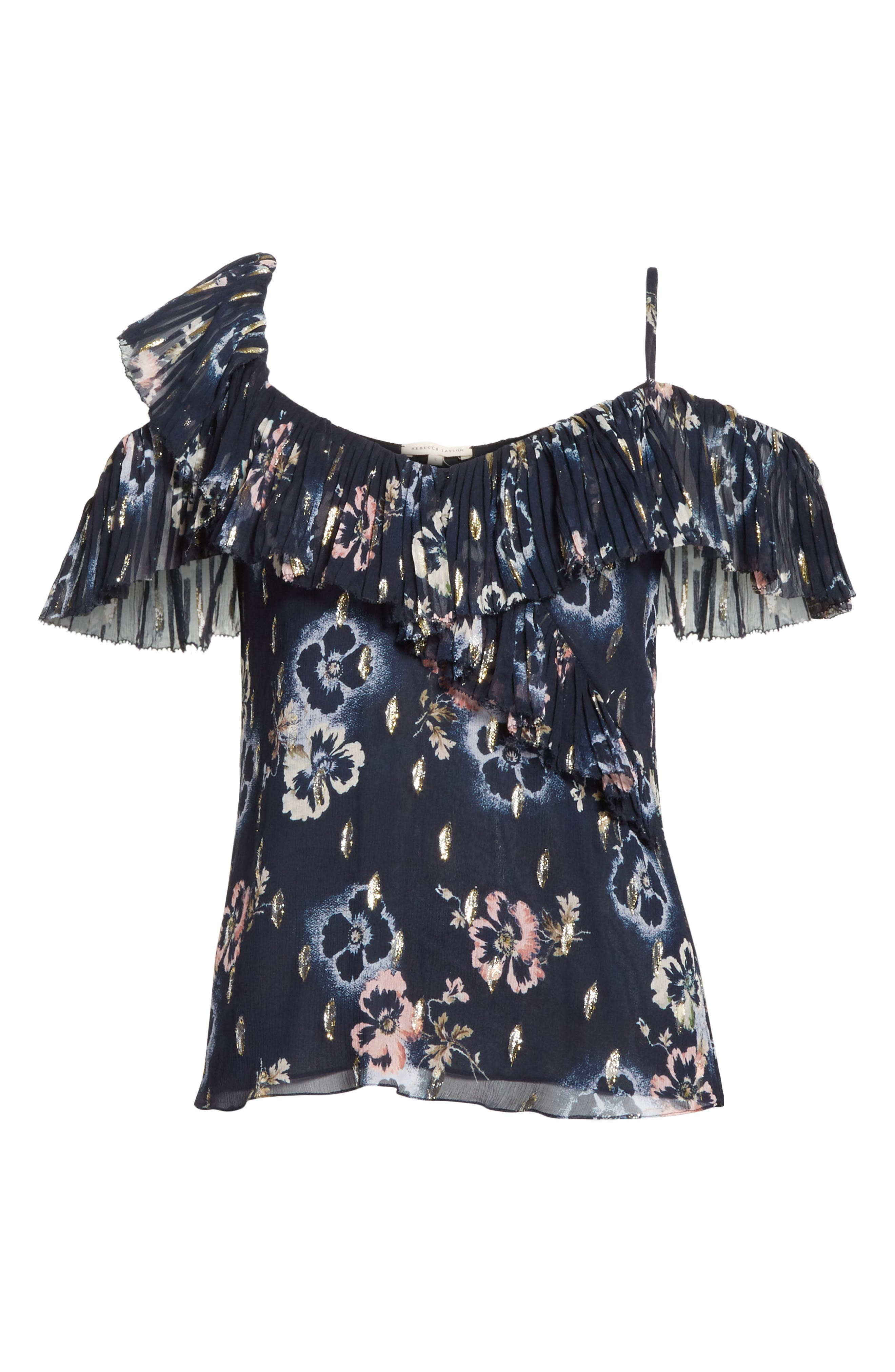 Faded Floral Top,                             Alternate thumbnail 6, color,                             Navy