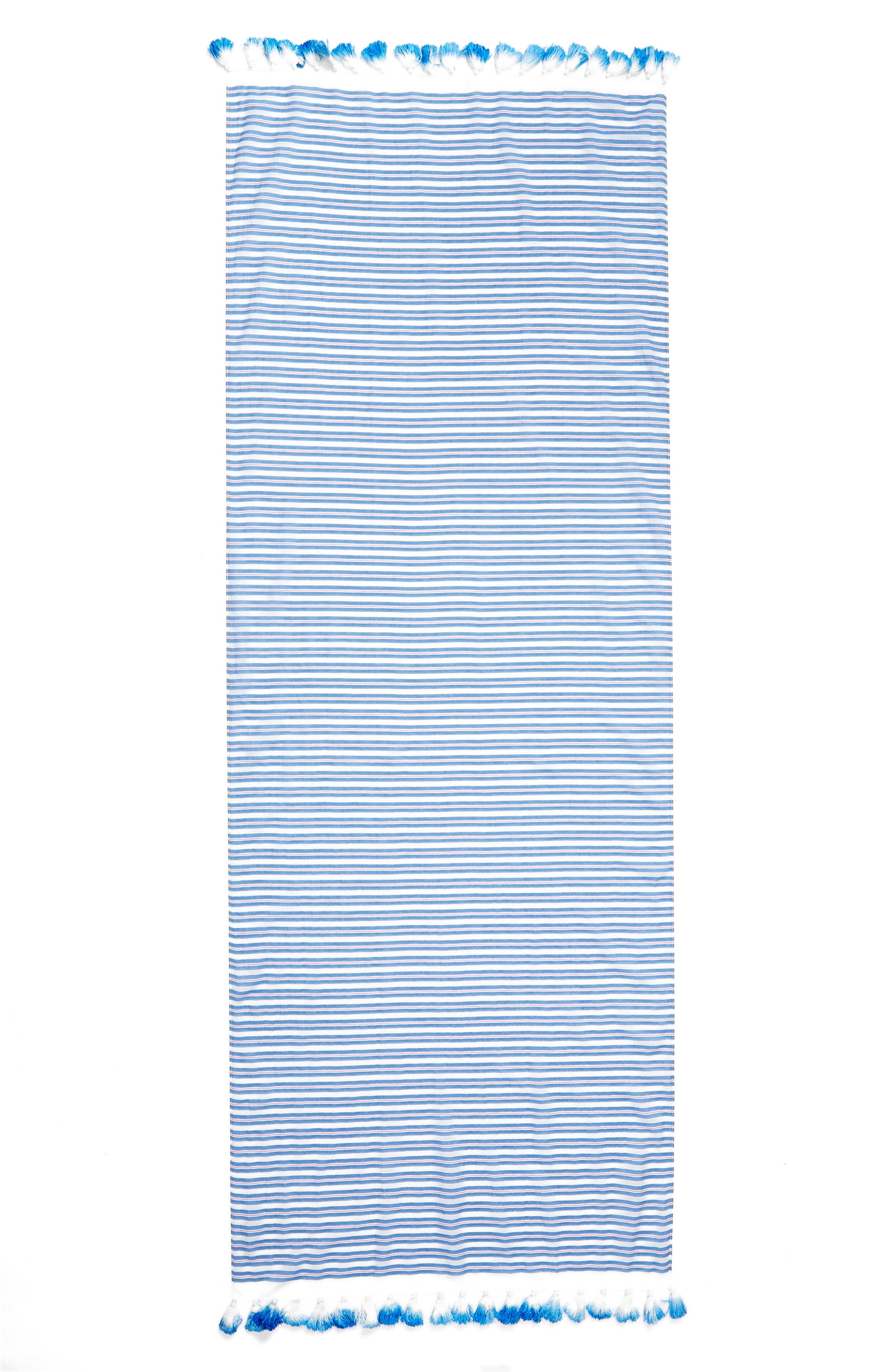 candy stripe cotton & silk scarf,                             Alternate thumbnail 3, color,                             Deep End Blue