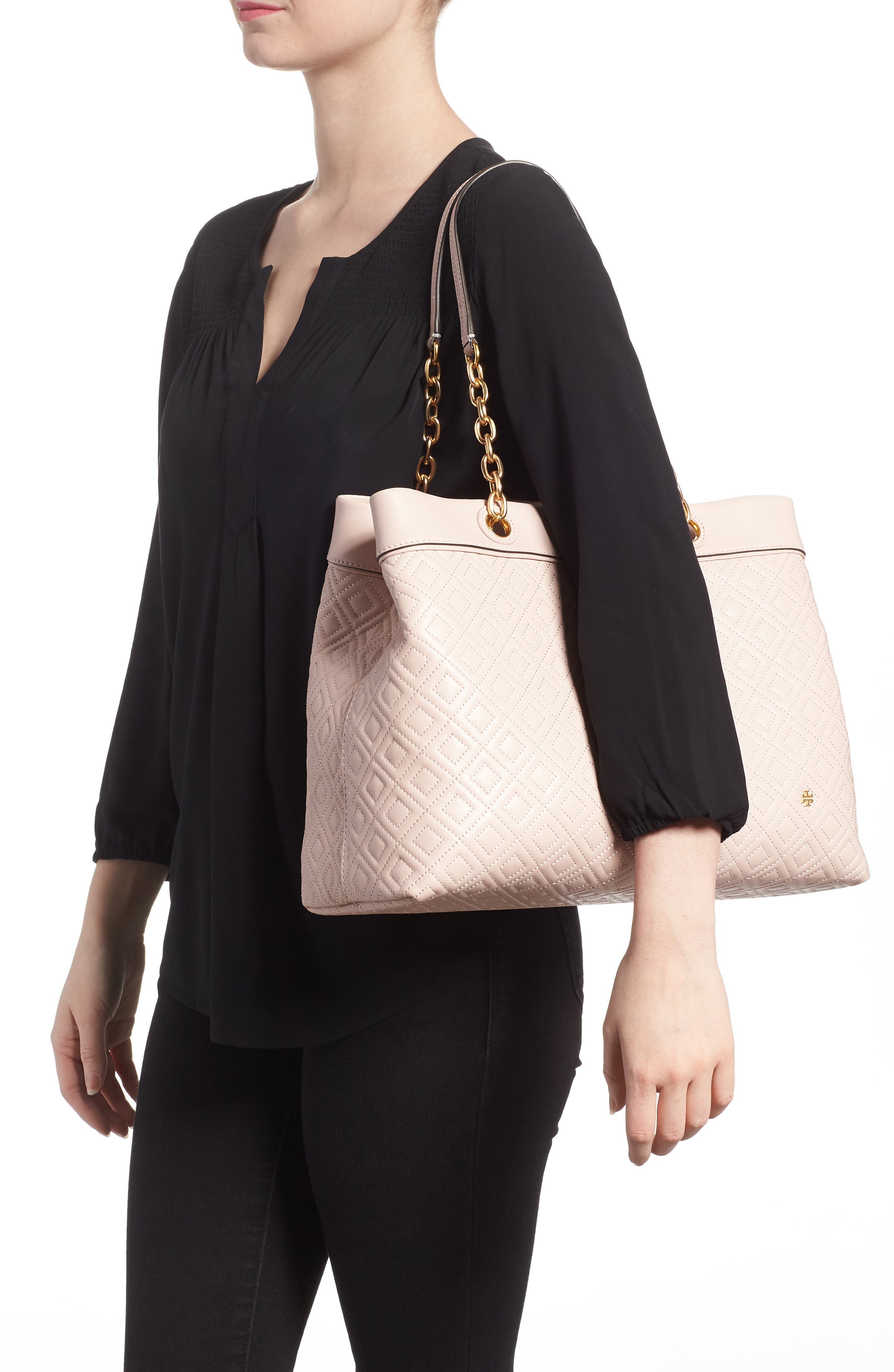 Fleming Triple Compartment Leather Tote,                             Alternate thumbnail 2, color,                             Shell Pink