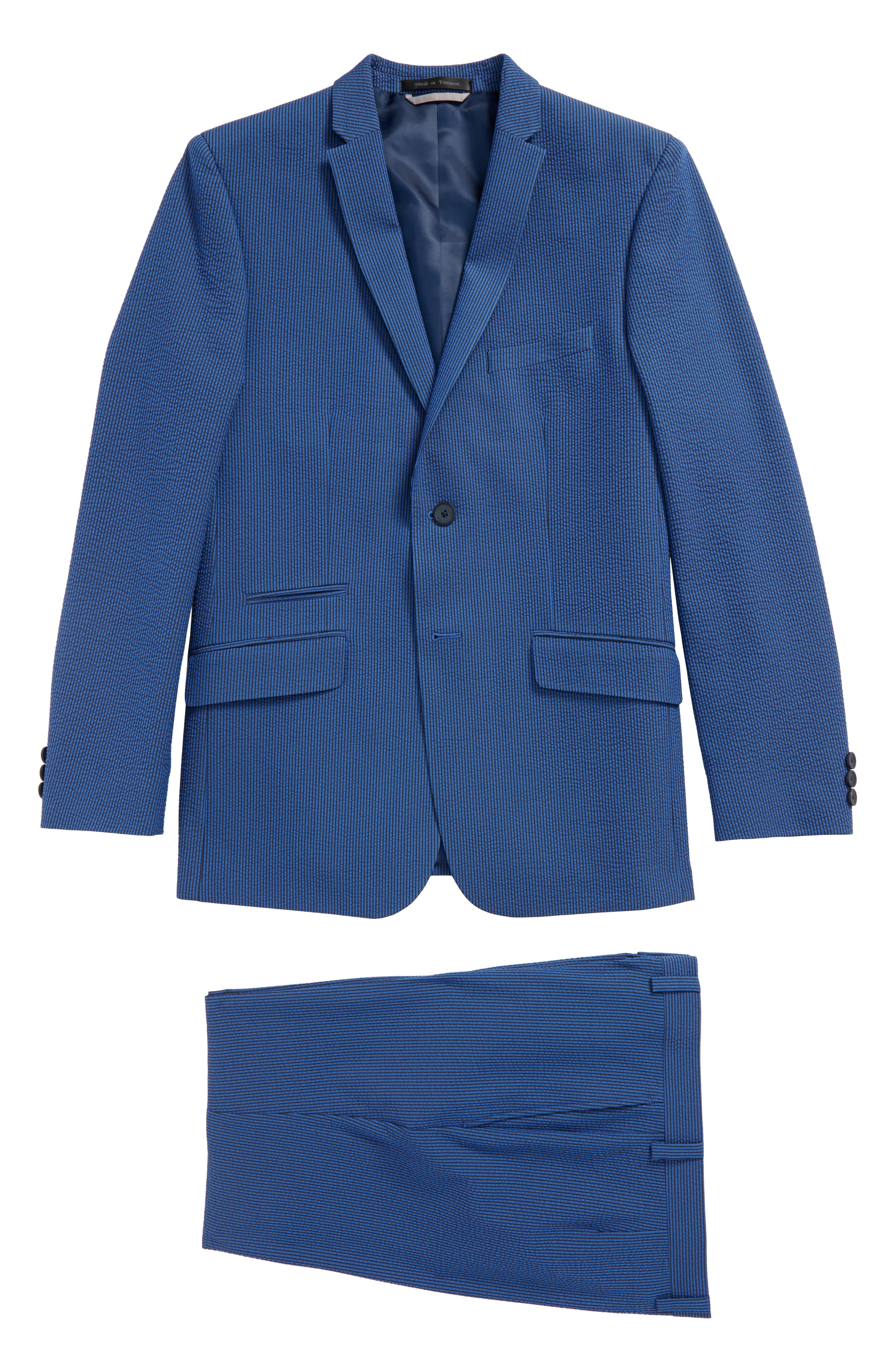 Skinny Fit Suit,                         Main,                         color, Medium Blue