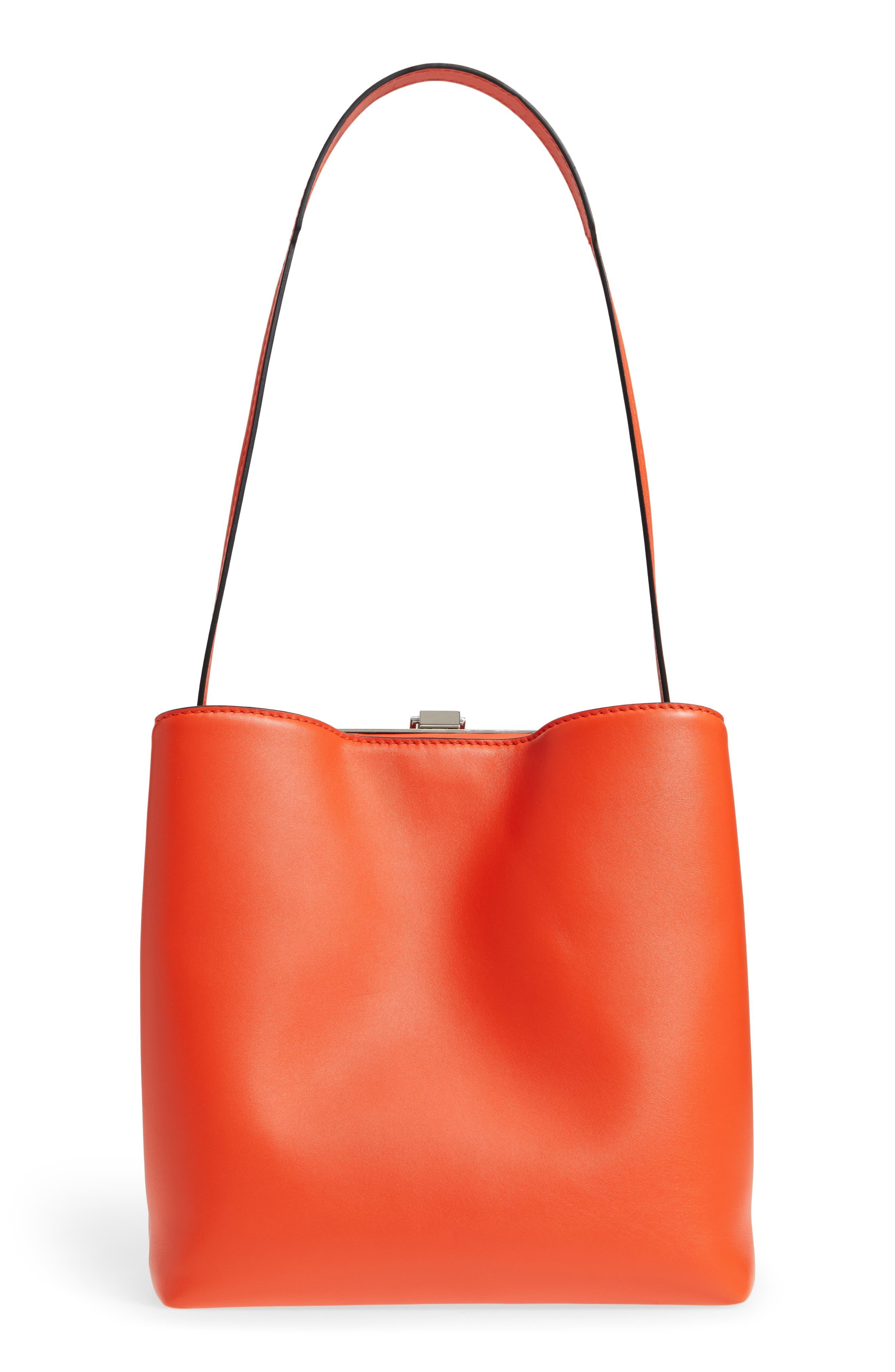 Frame Leather Shoulder Bag,                             Alternate thumbnail 3, color,                             Orange